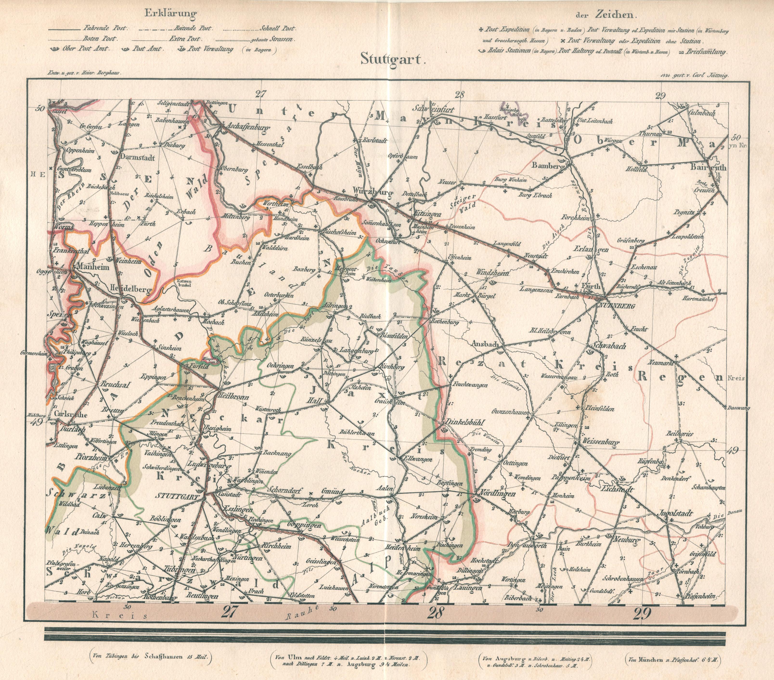 Karte Würzburg Und Umgebung.Stuttgart Karte Karte Zvab