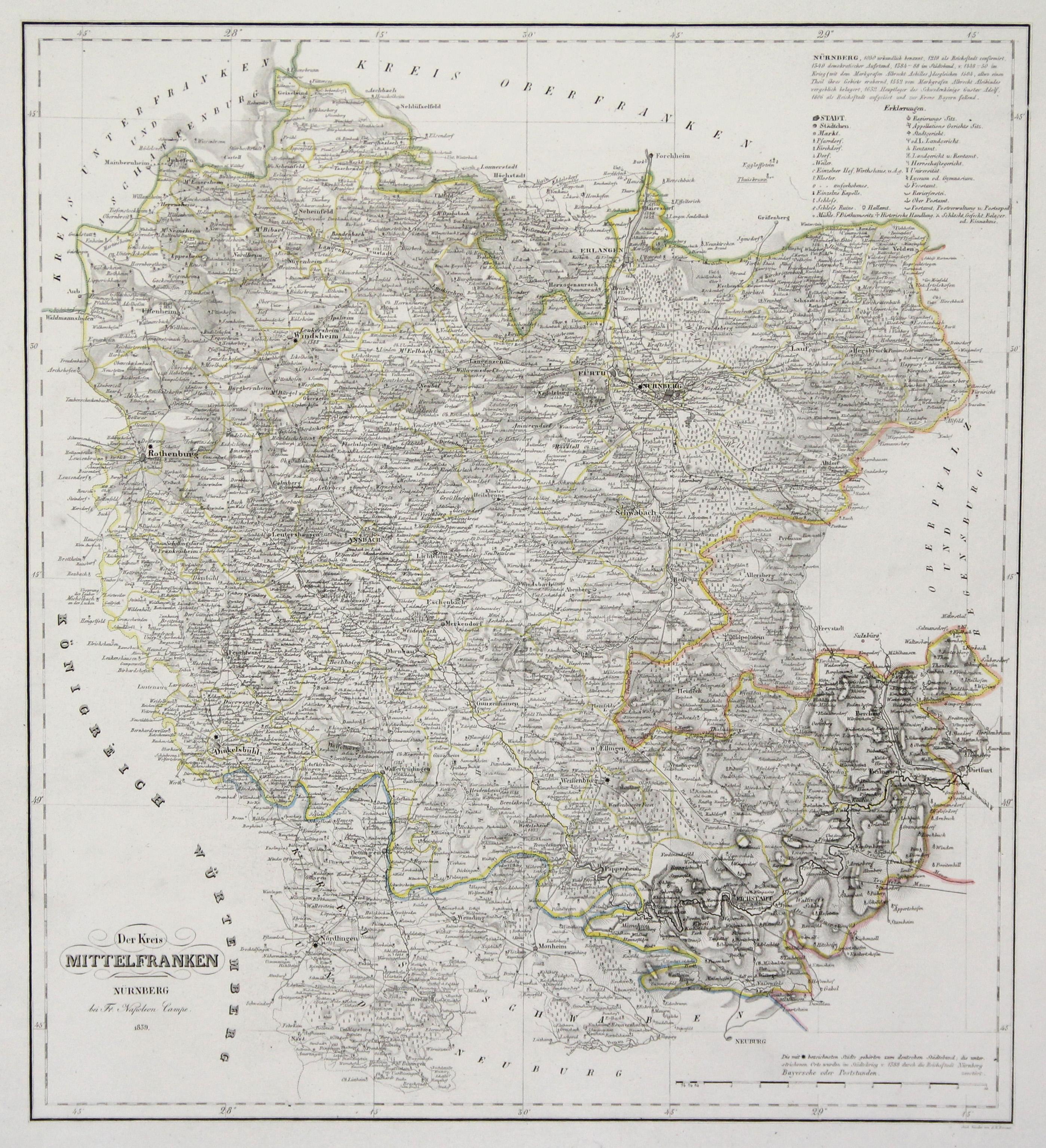 Mittelfranken Karte.Stahlstich Karte N C F Hammer Bei Fr