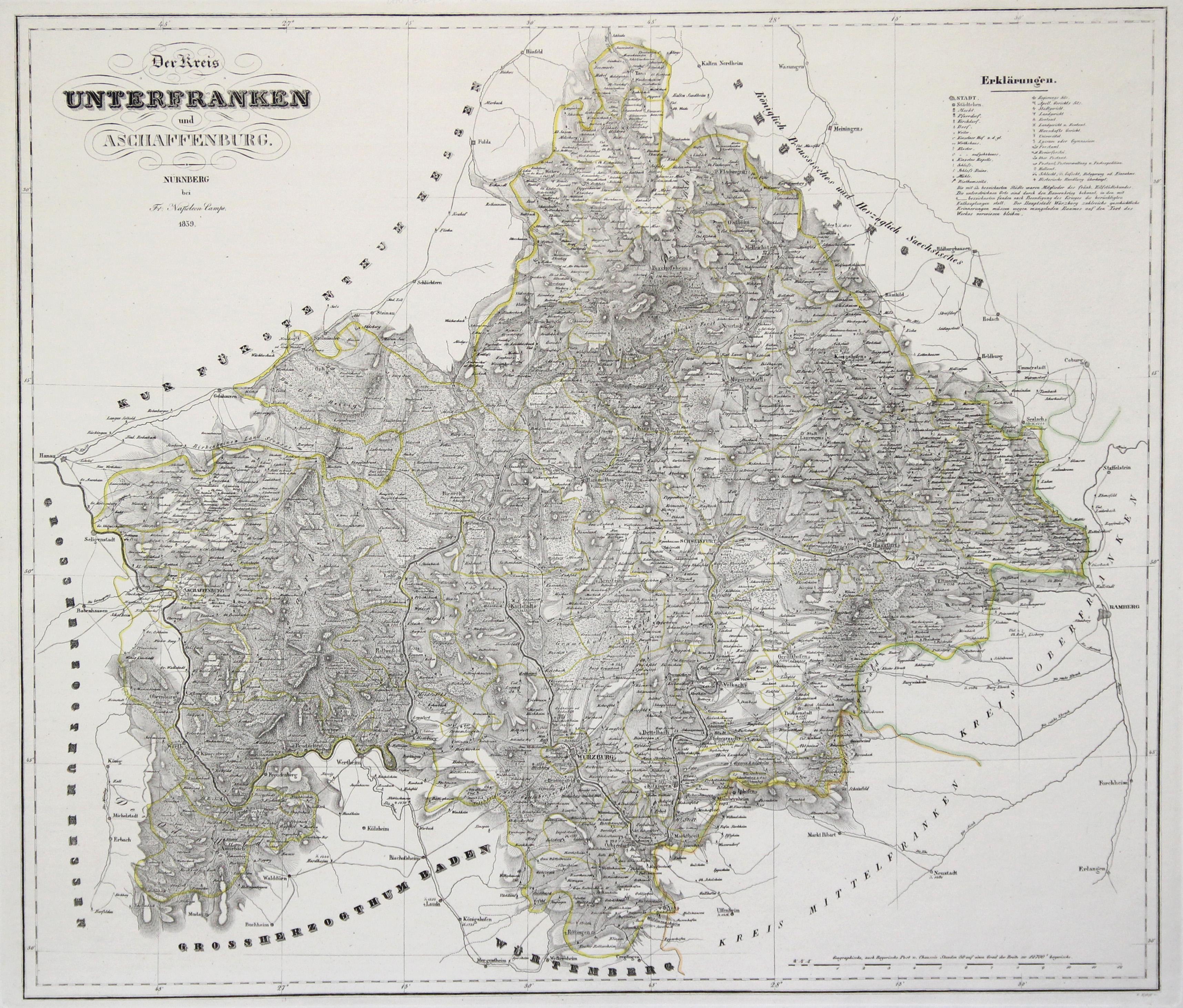 Unterfranken Karte.Aschaffenburg Unterfranken Karten Zvab