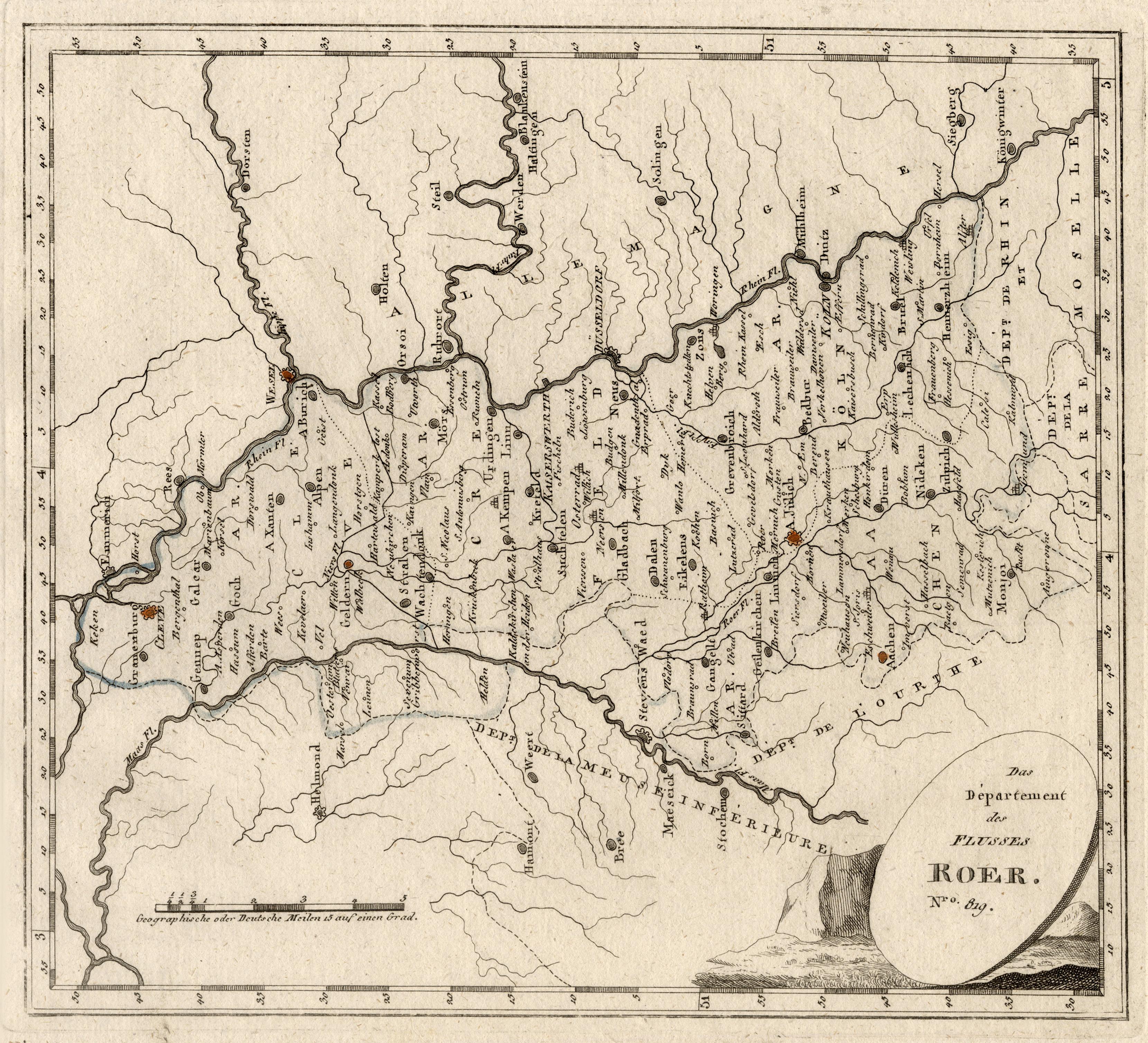 Karte Niederrhein.Kupferstich Karte Aus Von Niederrhein Zvab