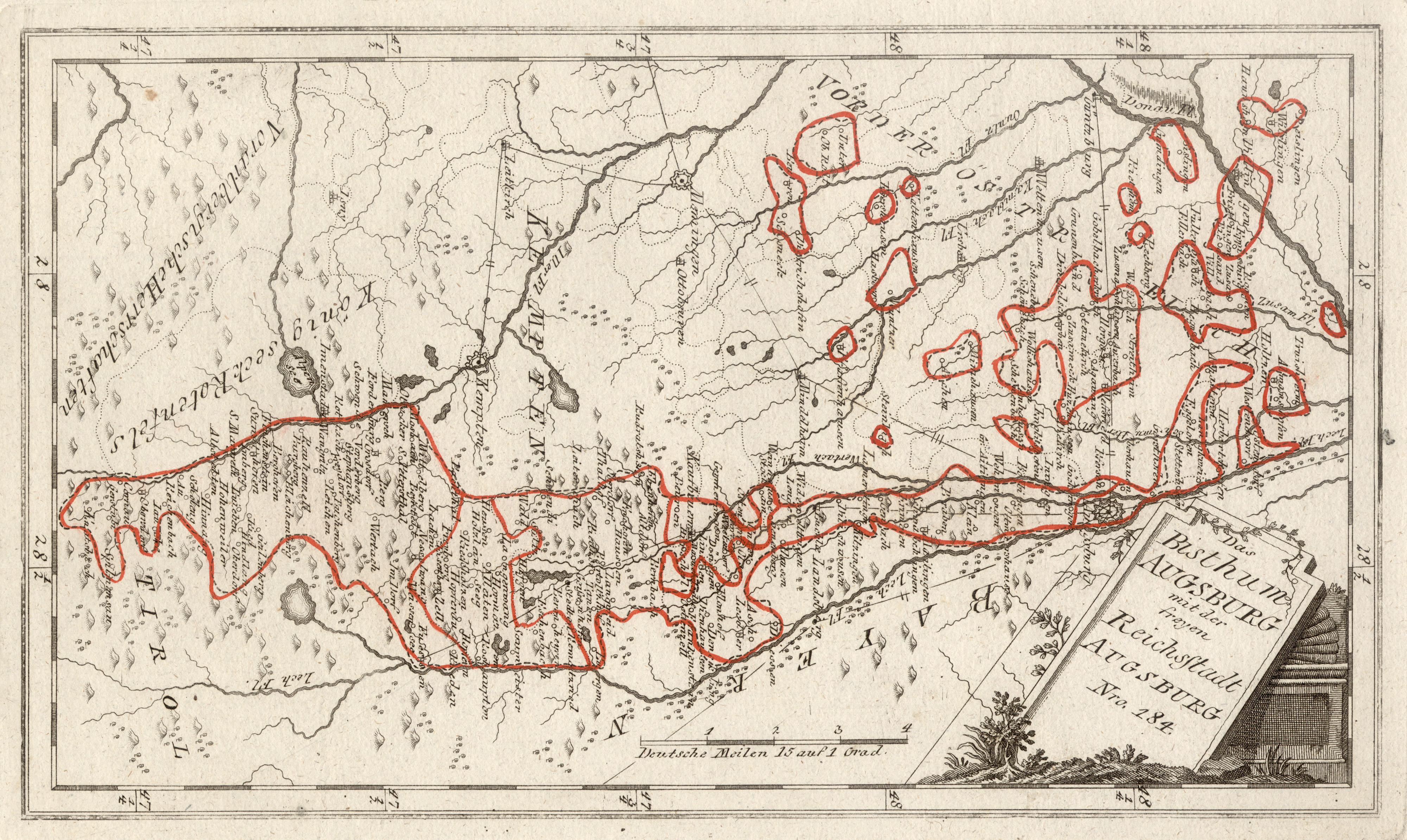 Karte Augsburg.Kupferstich Karte B Reilly