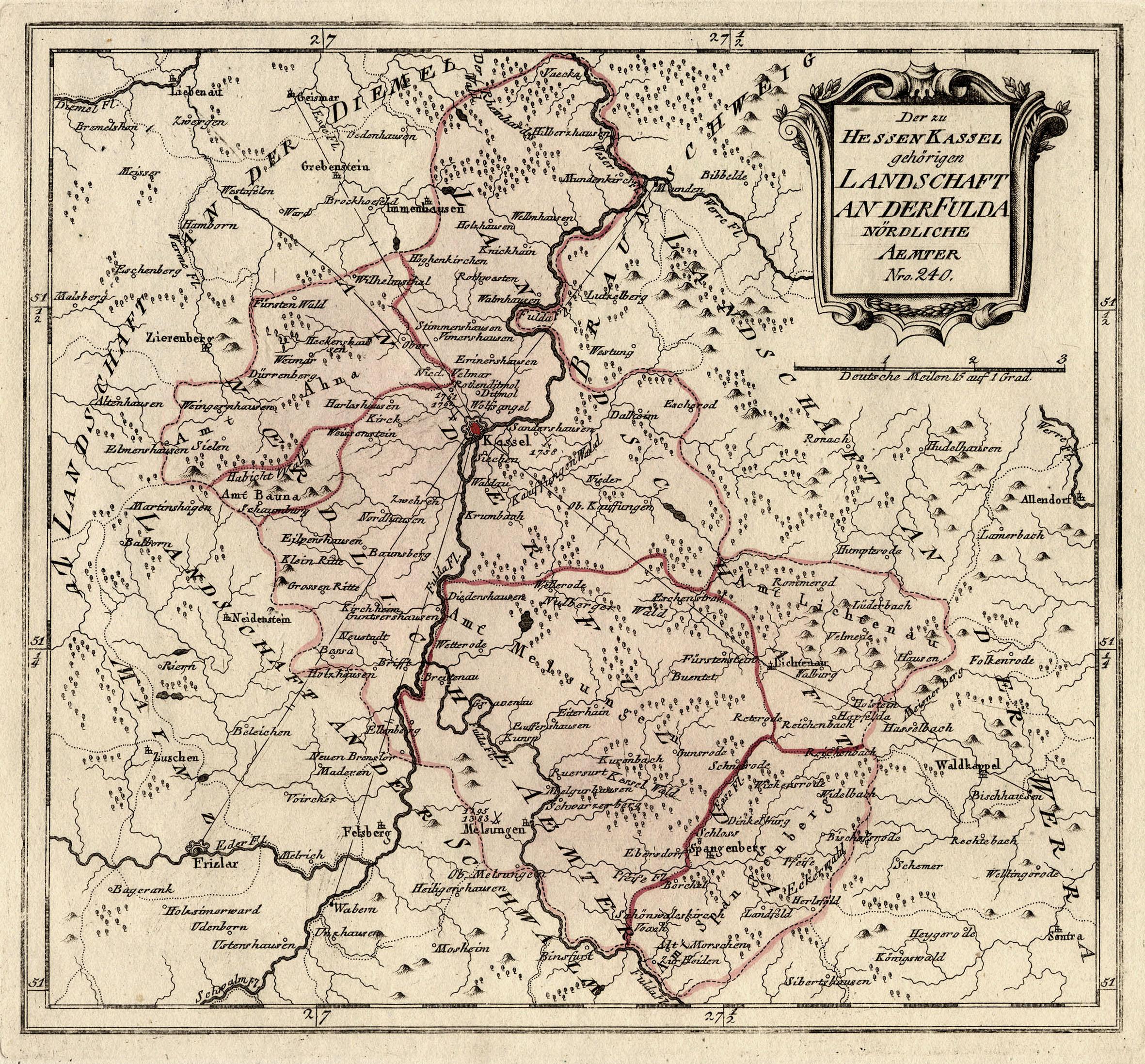 Karte Kassel Und Umgebung.Kupferstich Karte B Reilly