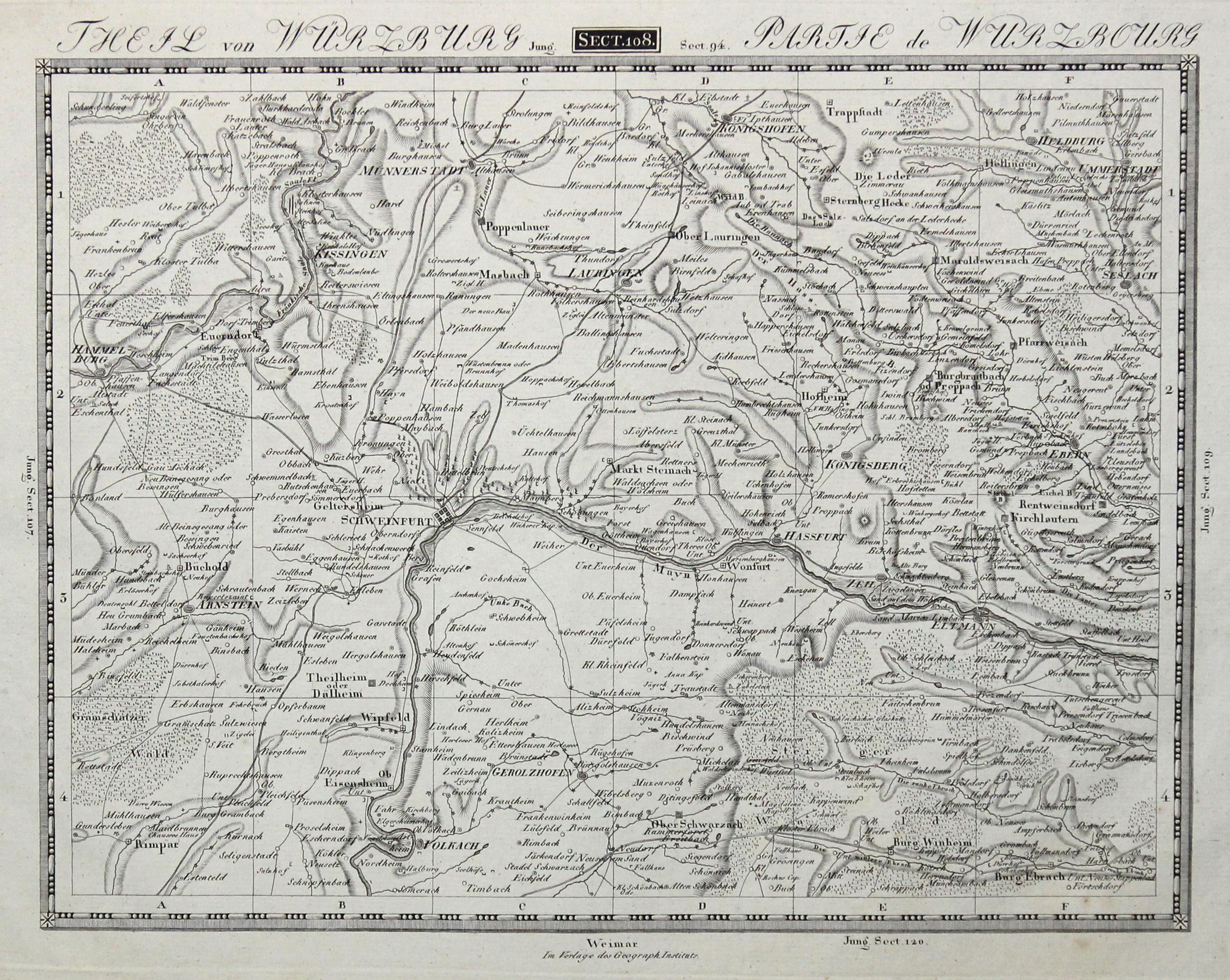 Karte Würzburg Und Umgebung.Kupferstich Karte B