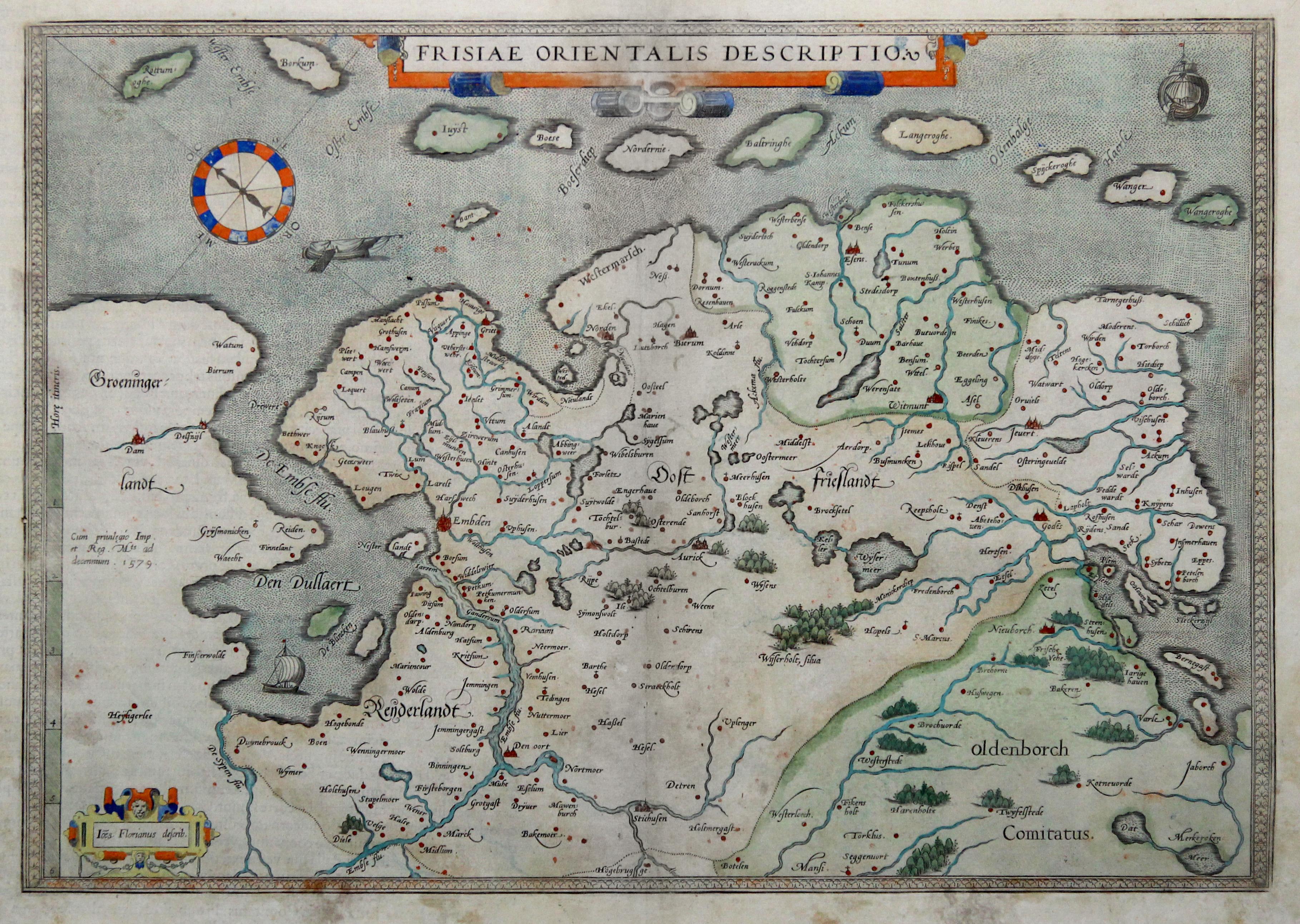 Vialibri Kupferstich Karte N Florianus Aus Ortelius Frisiae