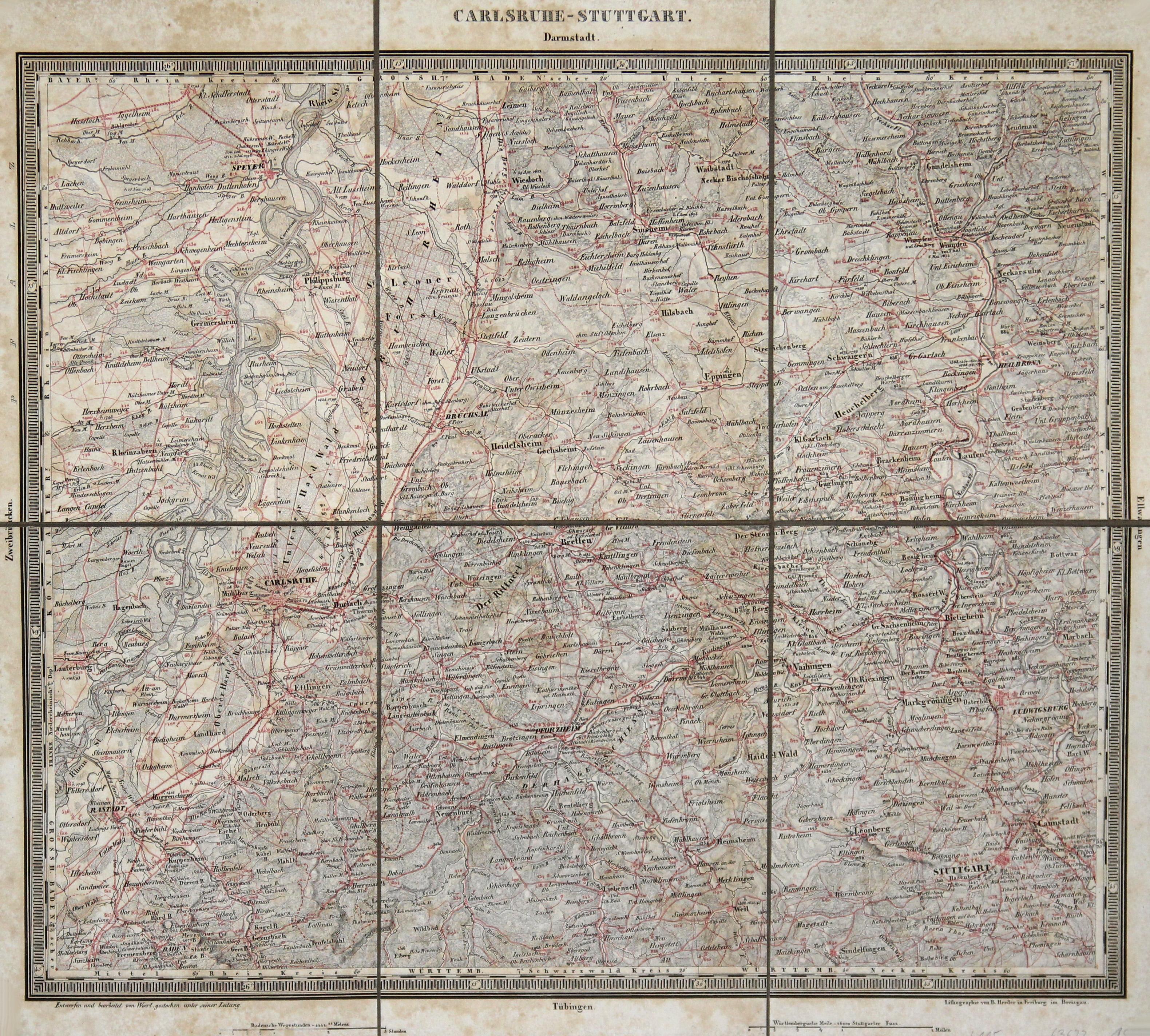 Karlsruhe Karte Umgebung.Litho Karte N Woerl B Herder