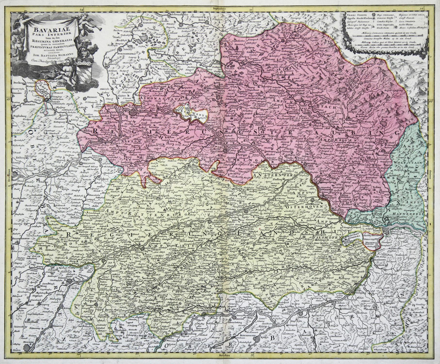 Kupferstich Karte B J B Homann Bavariae Pars Inferior