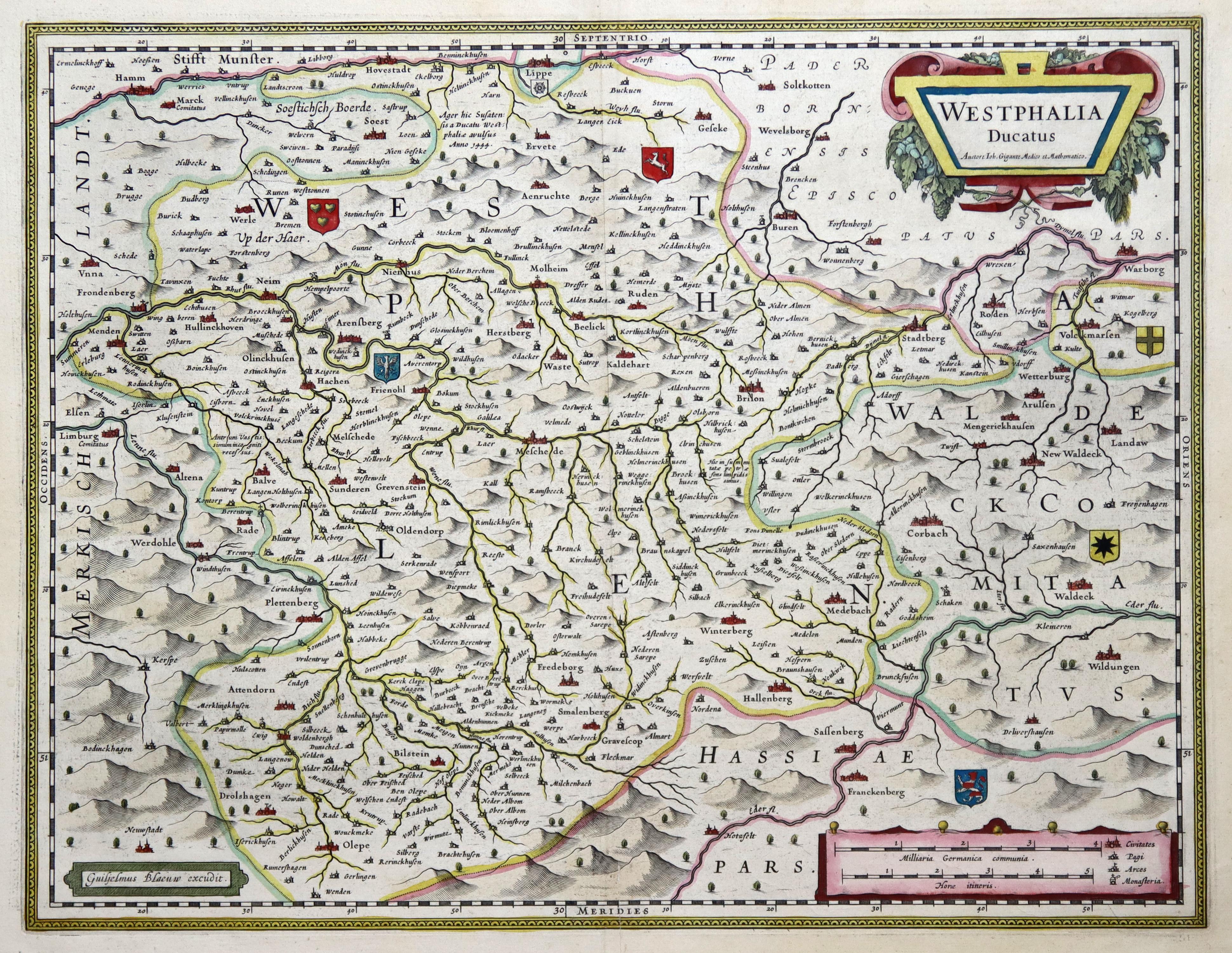 Sauerland Karte.Kupferstich Karte N Gigas B Blaeu