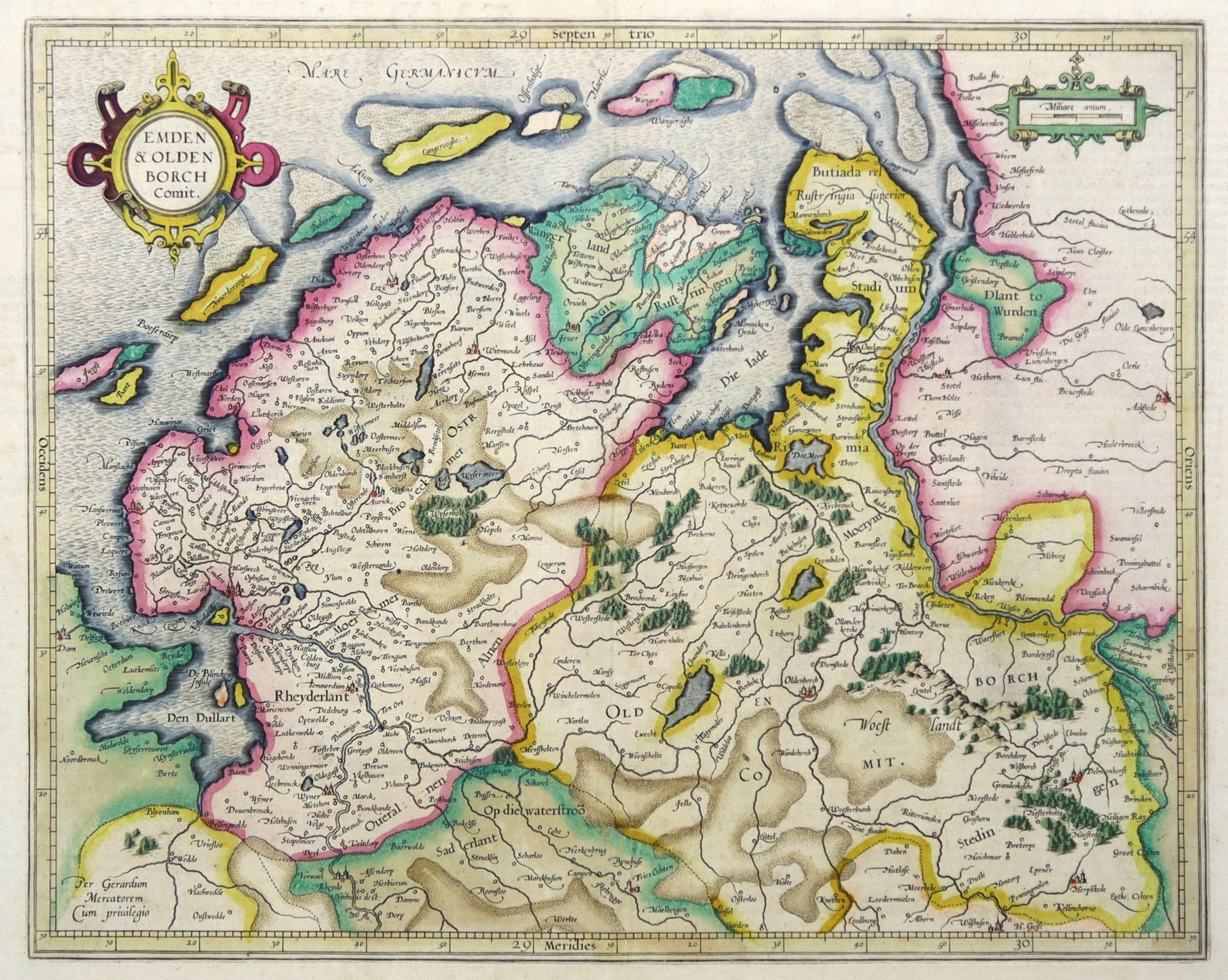 Emden Karte.Kupferstich Karte N Mercator B Hondius