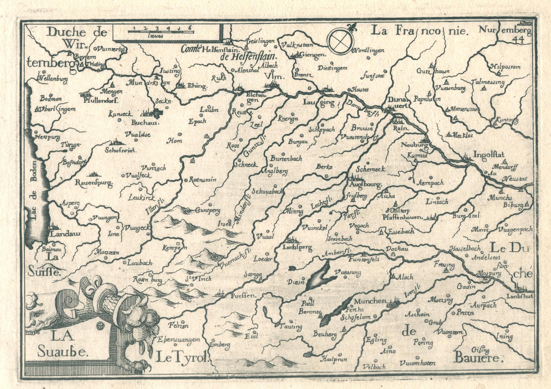 Schwaben Karte.Kupferstich Karte B Von Schwaben Zvab