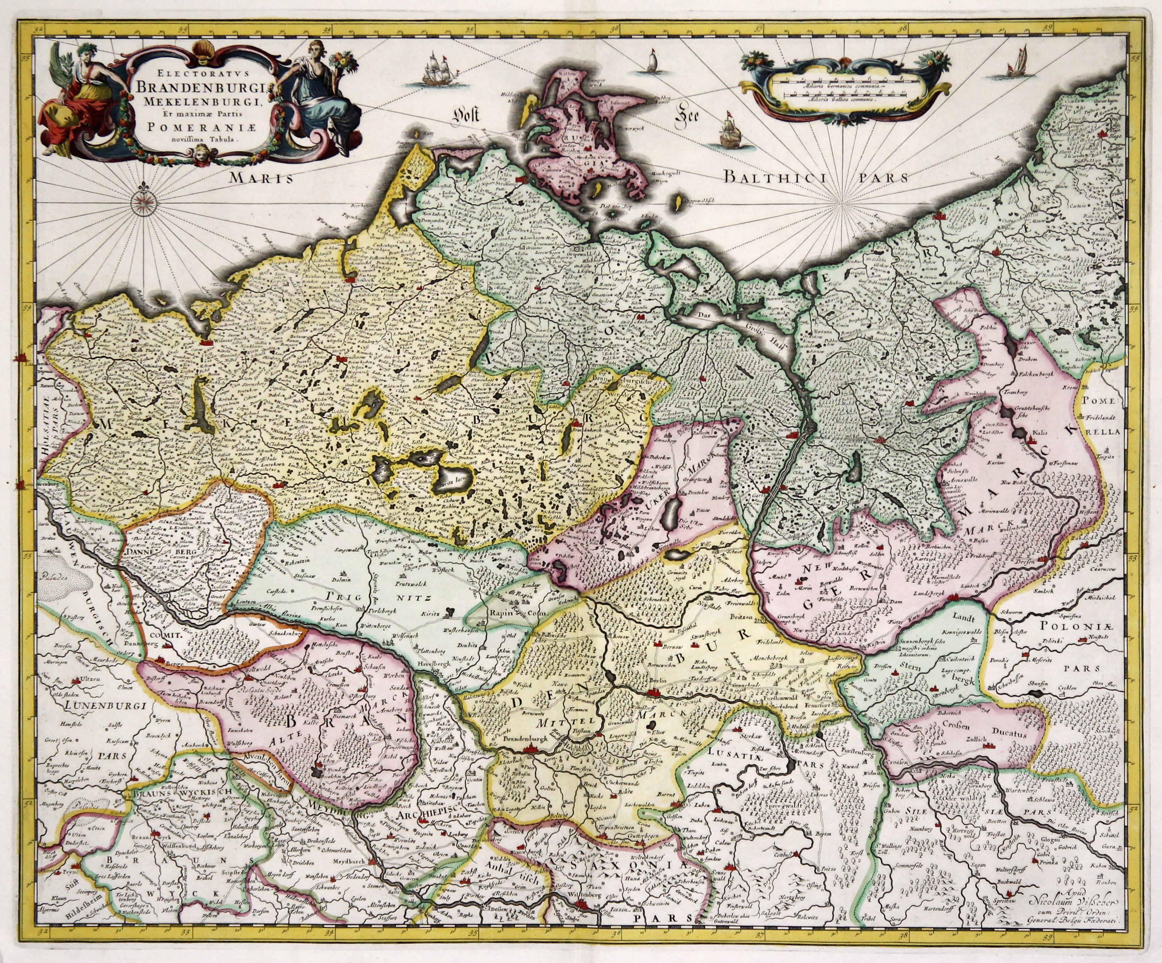Liefern Rare Original Antike Landkarte Württemberg Von 1689 Frederick De Wit Baden-württemberg