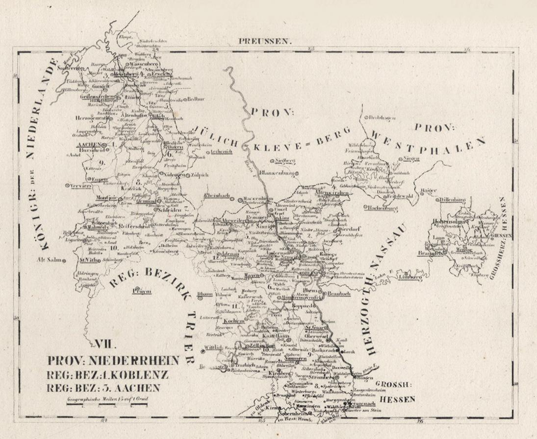 Westerwald Karte.Litho Karte Aus Schliebens Atlas Von