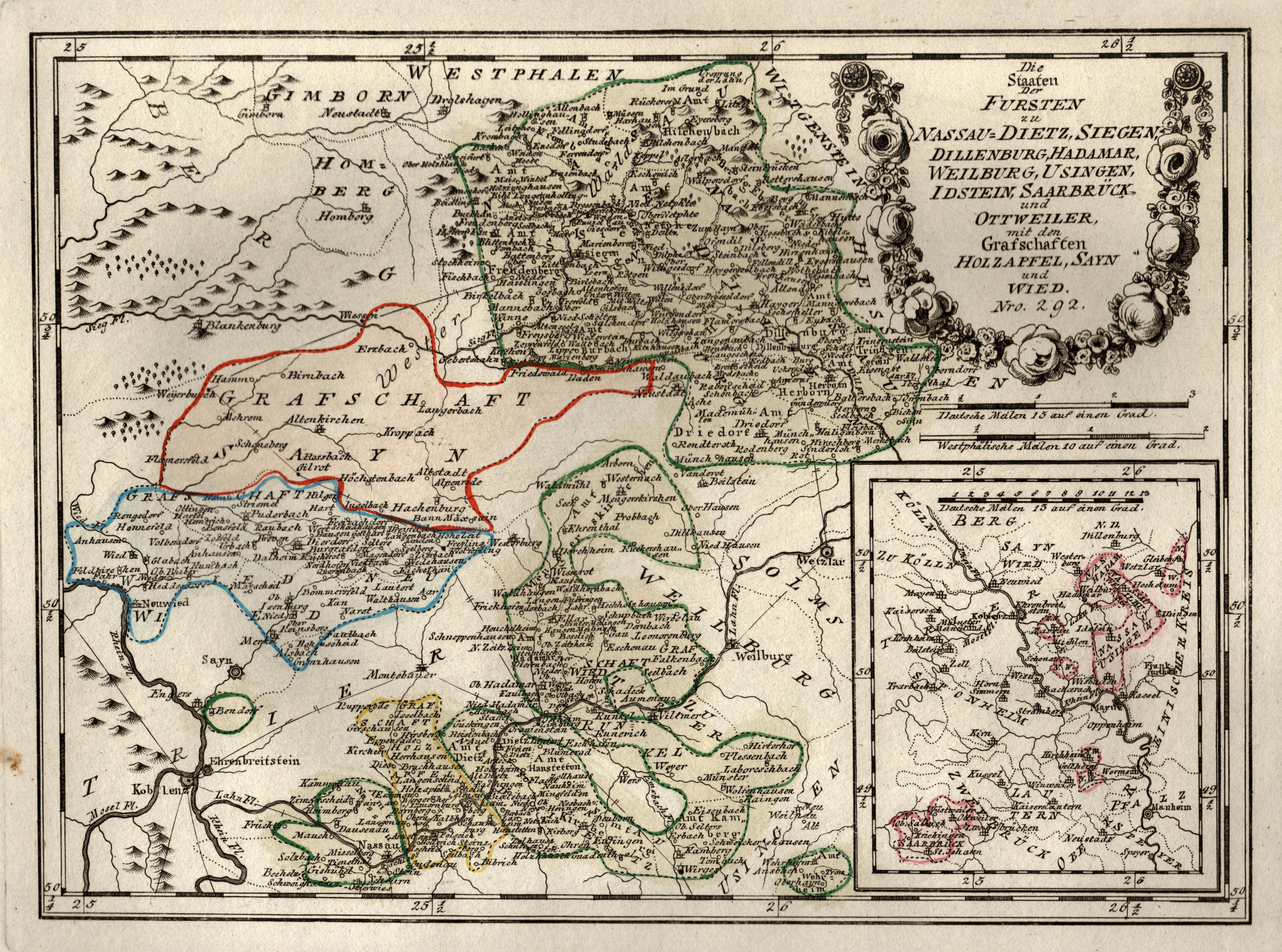 Westerwald Karte.Kupferstich Karte B Reilly
