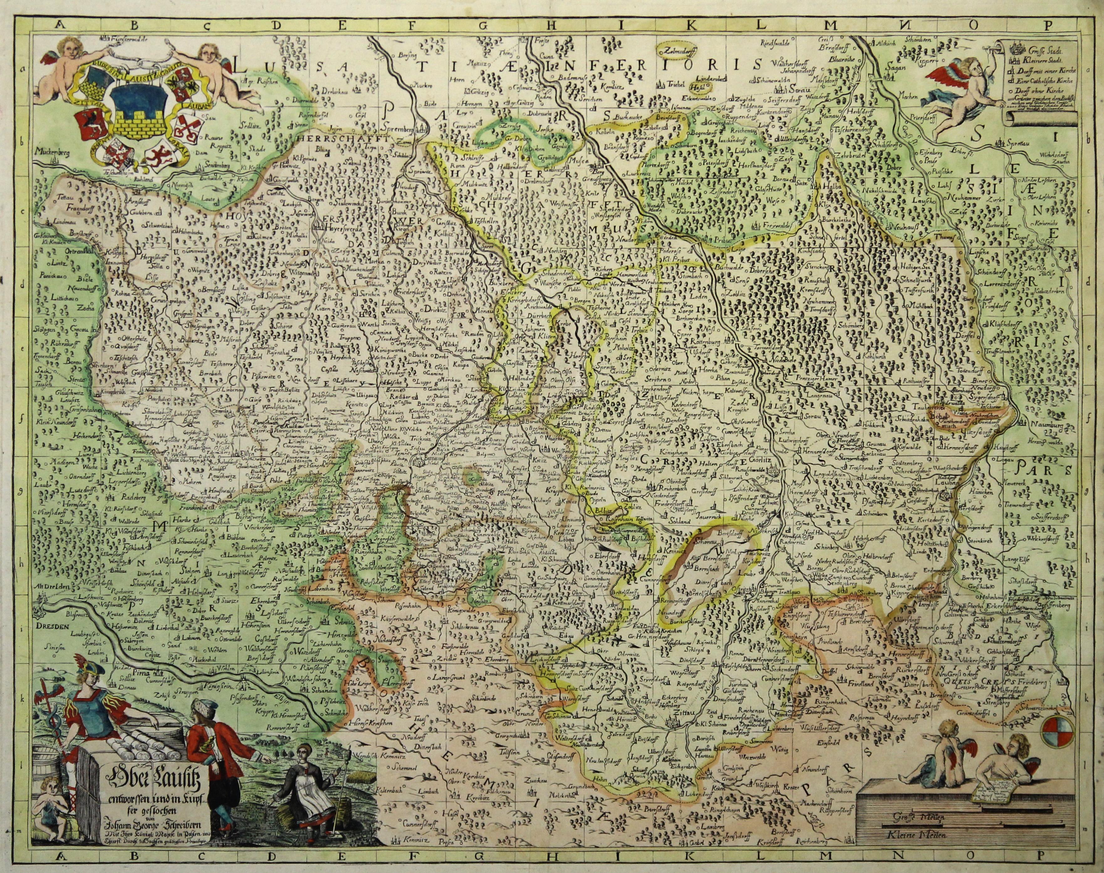 Lausitz Karte.Kupferstich Karte V U N Johann George