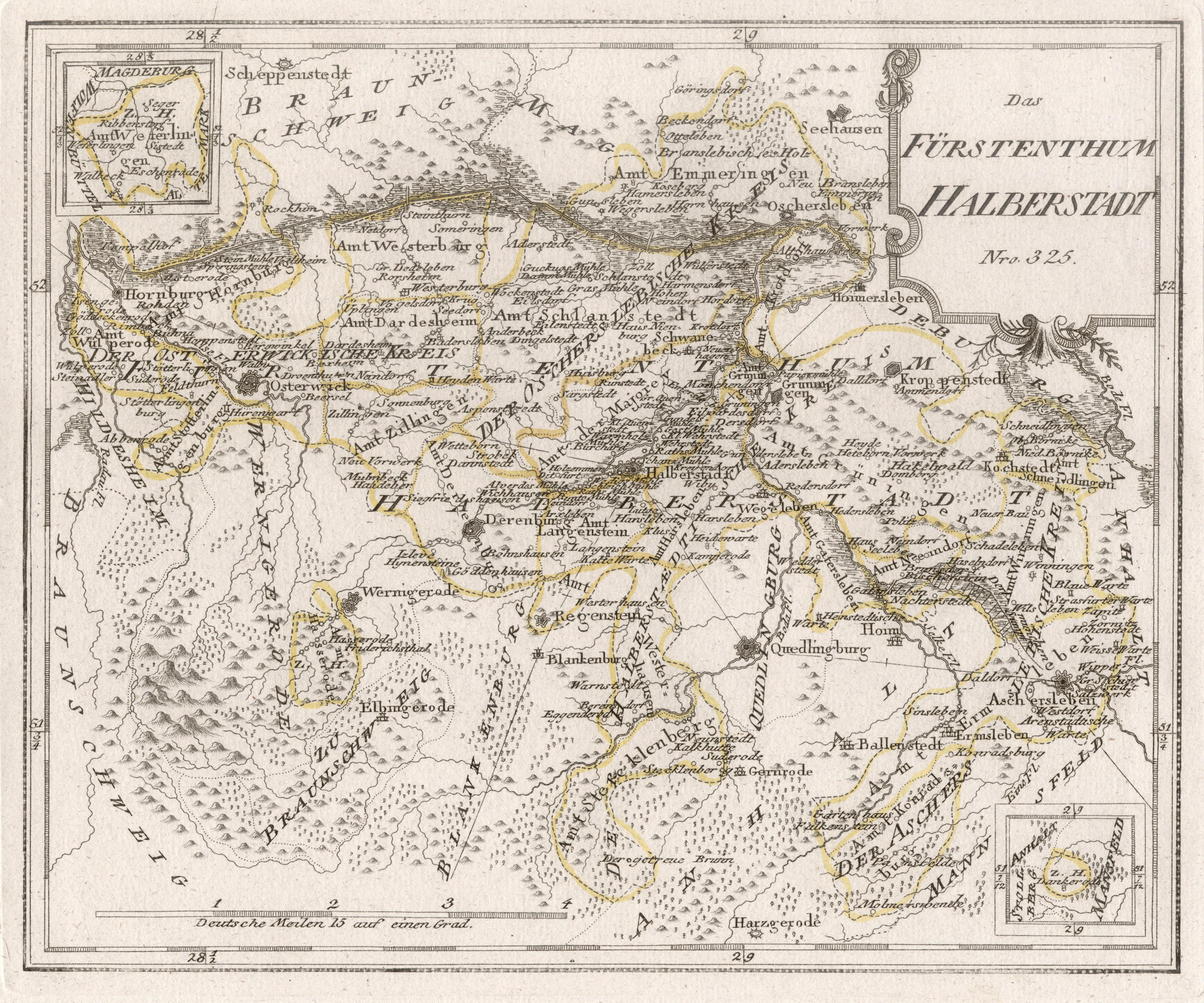 Kupferstich Karte B Reilly Das Furstenthum Halberstadt Von