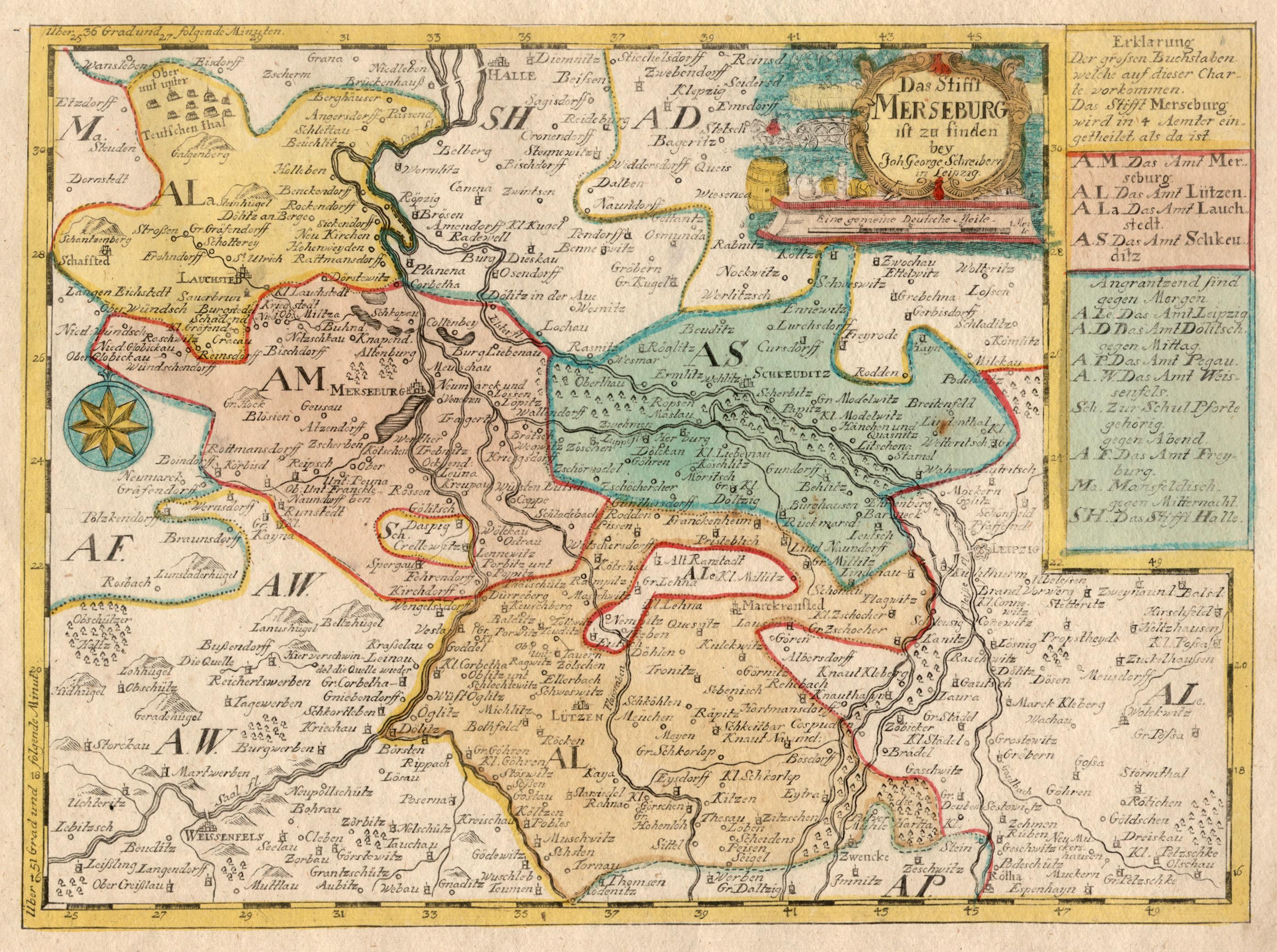 Kupferstich Karte B J G Schreiber Das Stifft Merseburg