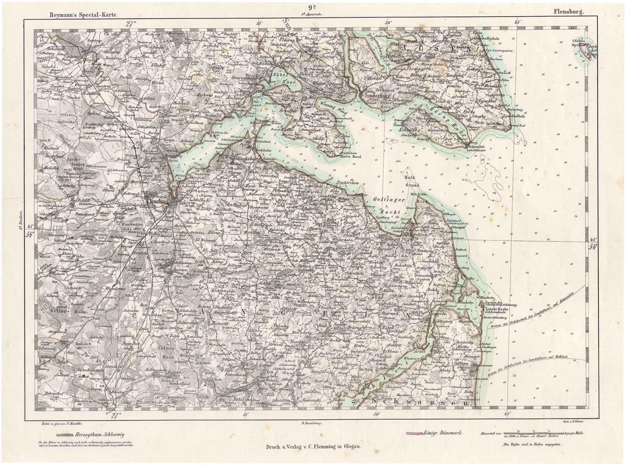 Flensburg Karte.Litho Karte N Handtke V Eitner