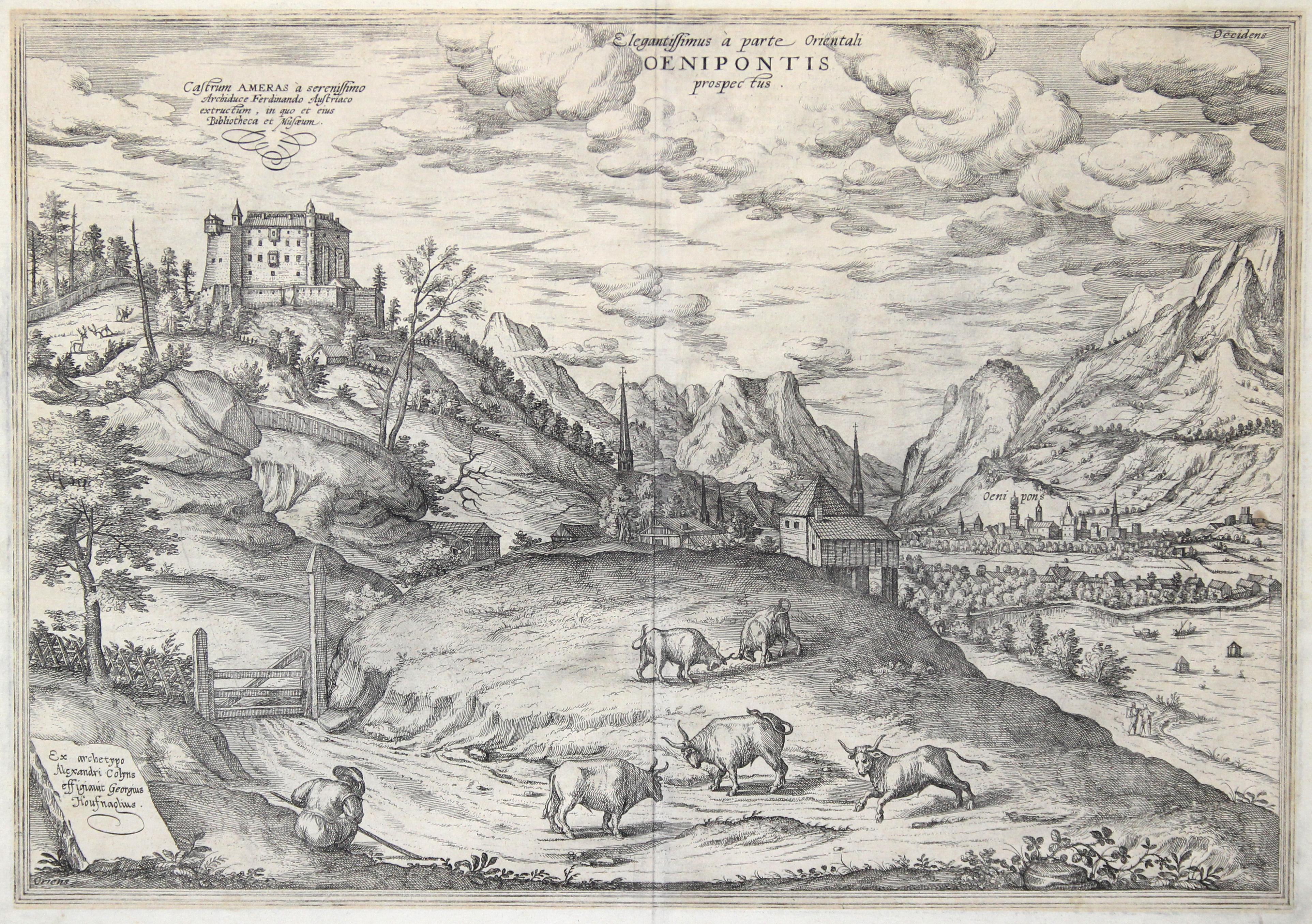 G. Hoefnagel nach einer Skizze von Alexander Colin aus Braun-Hogenberg, 1598,  33,3 x 42,5 Nebehay-Wagner 108/V/58, Adelsberger, Die Stadtvedute  Innsbrucks ...
