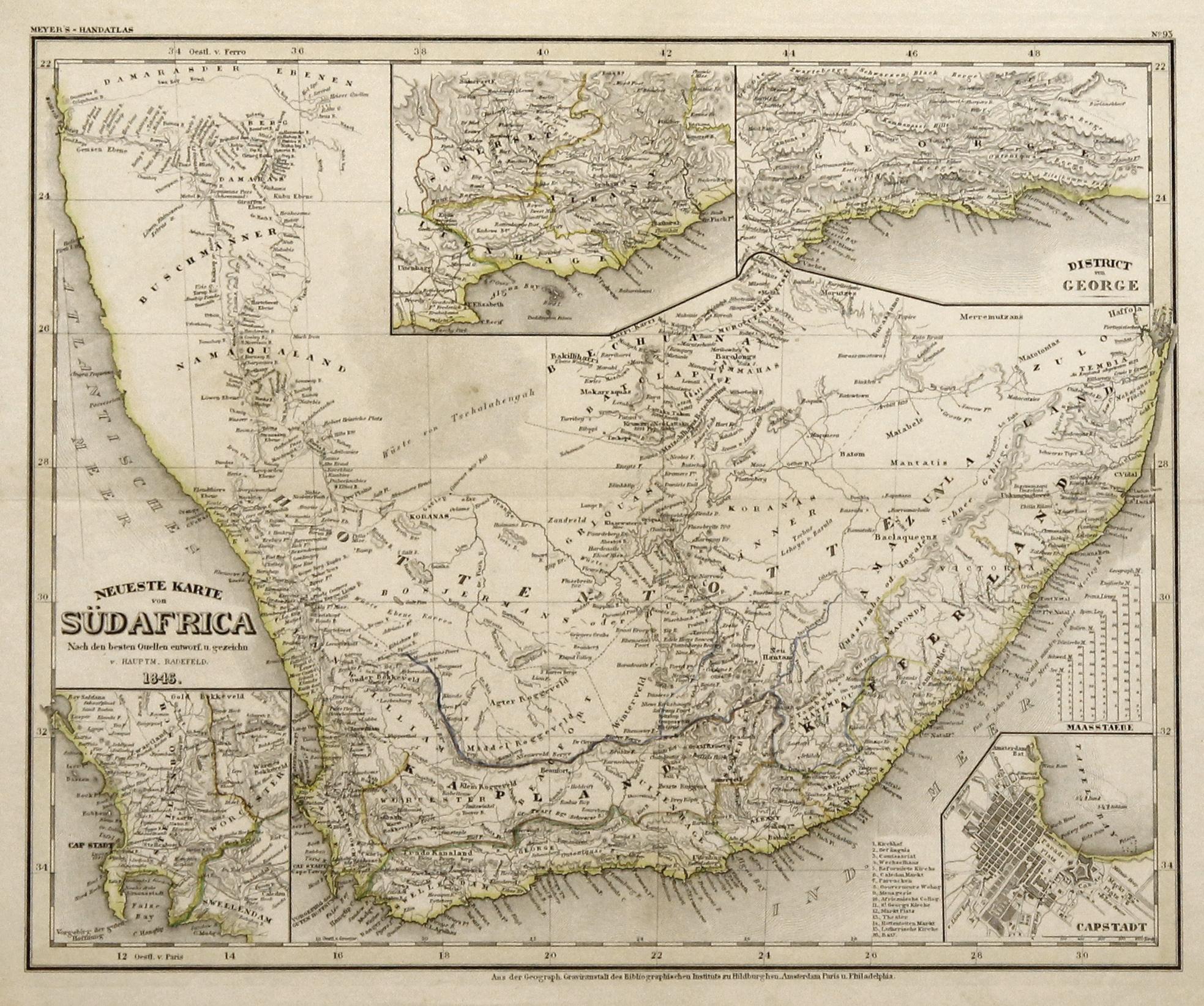 Südafrika Karte.Stahlstich Karte V Radefeld Aus Meyers