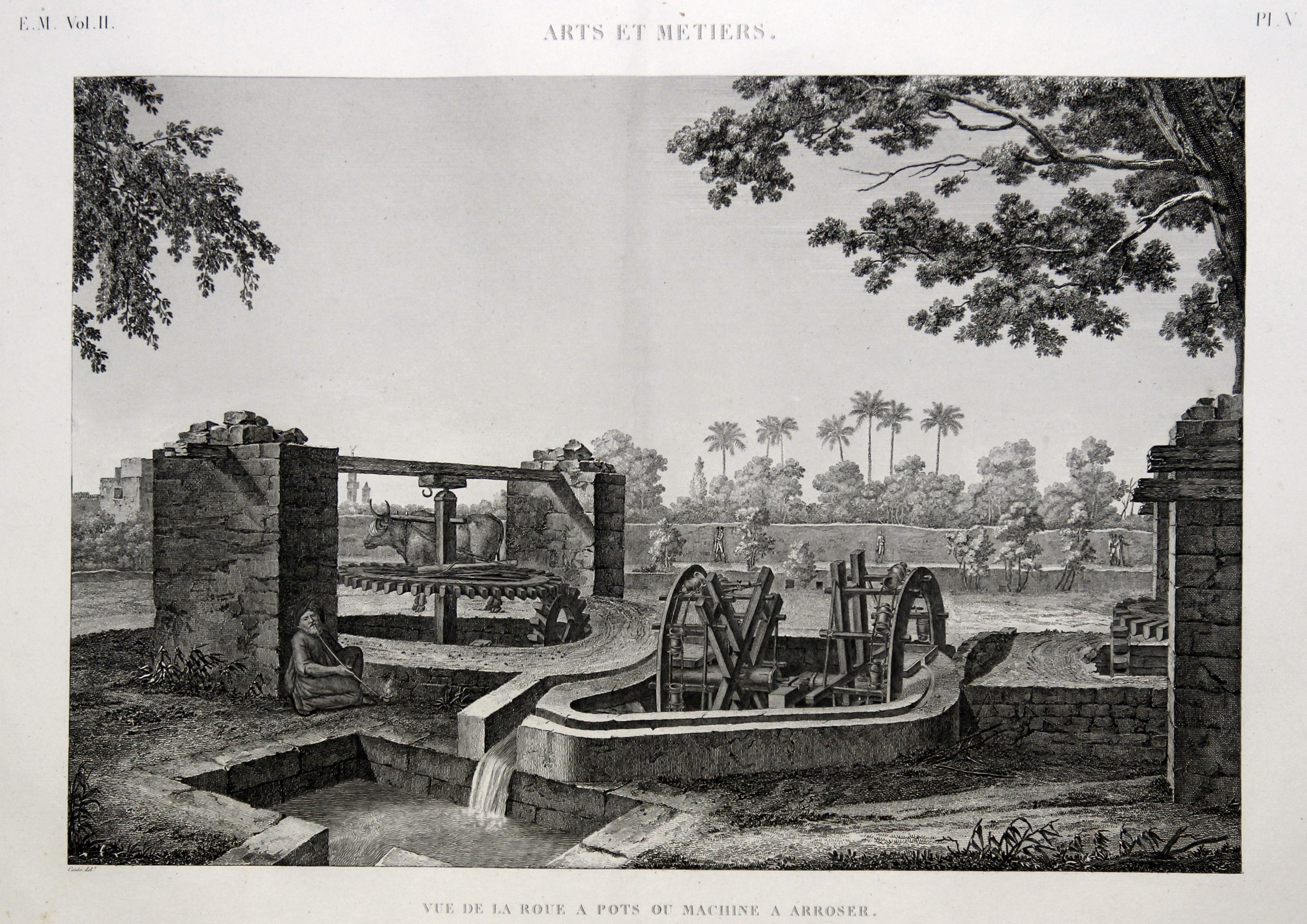 Arts et Metiers: Vue de la roue a pots ou machine a arroser. ÄGYPTEN ( Egypt ): ETHNOLOGIE: