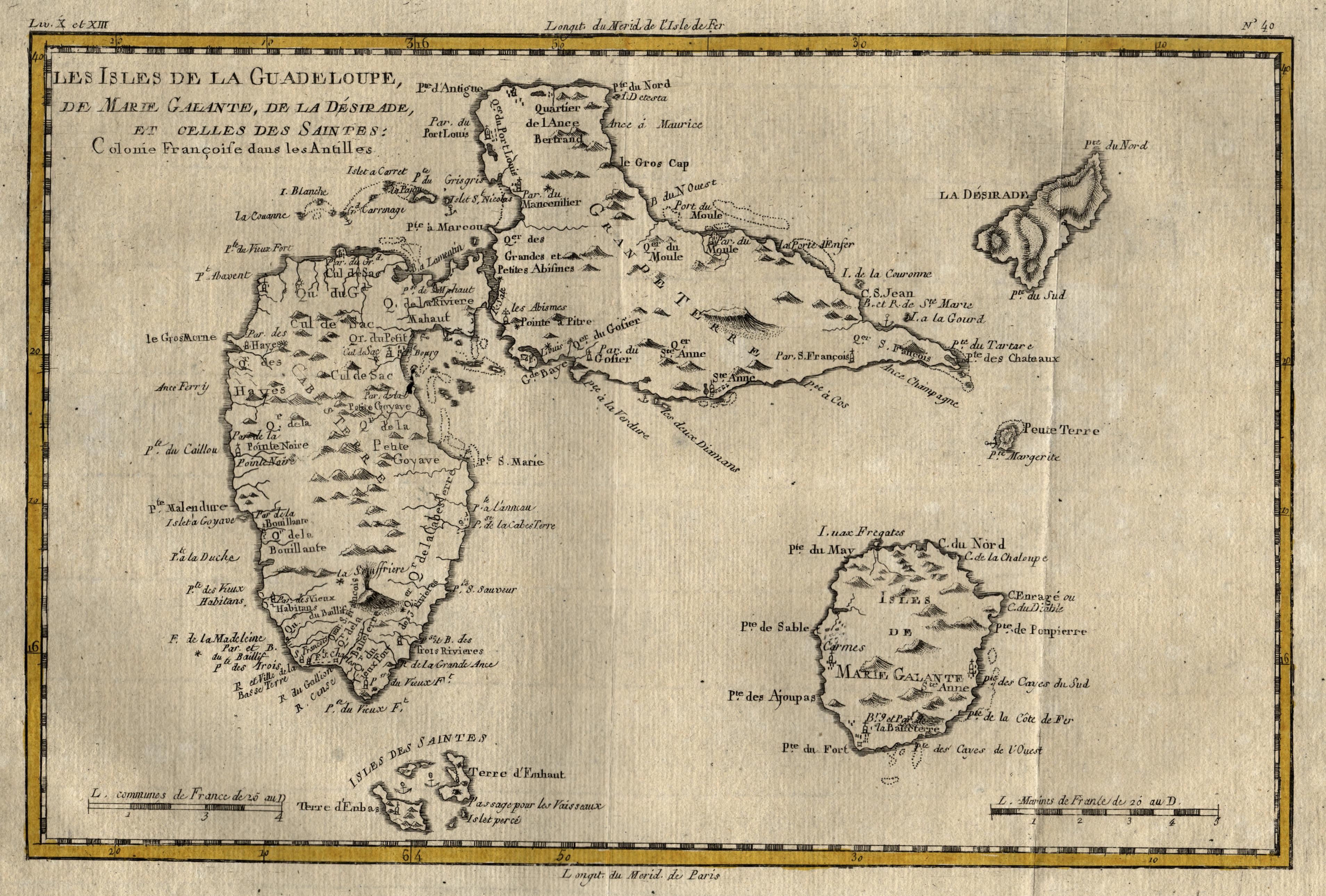 Kleine Antillen Karte.Kupferstich Karte V R Bonne