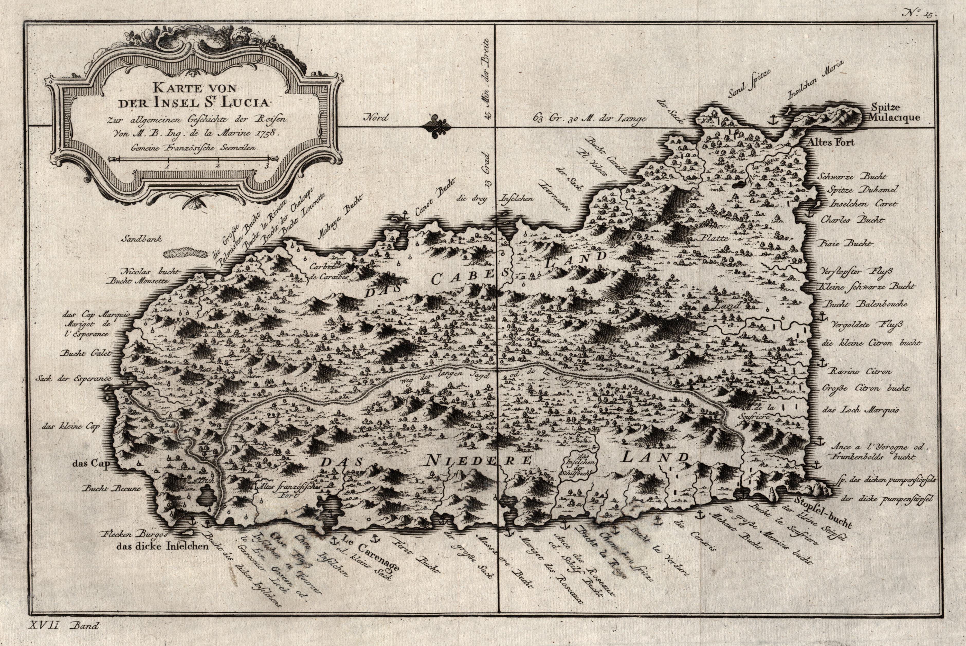 Kupferstich Karte N Bellin Karte Von Der Insel St Lucia De