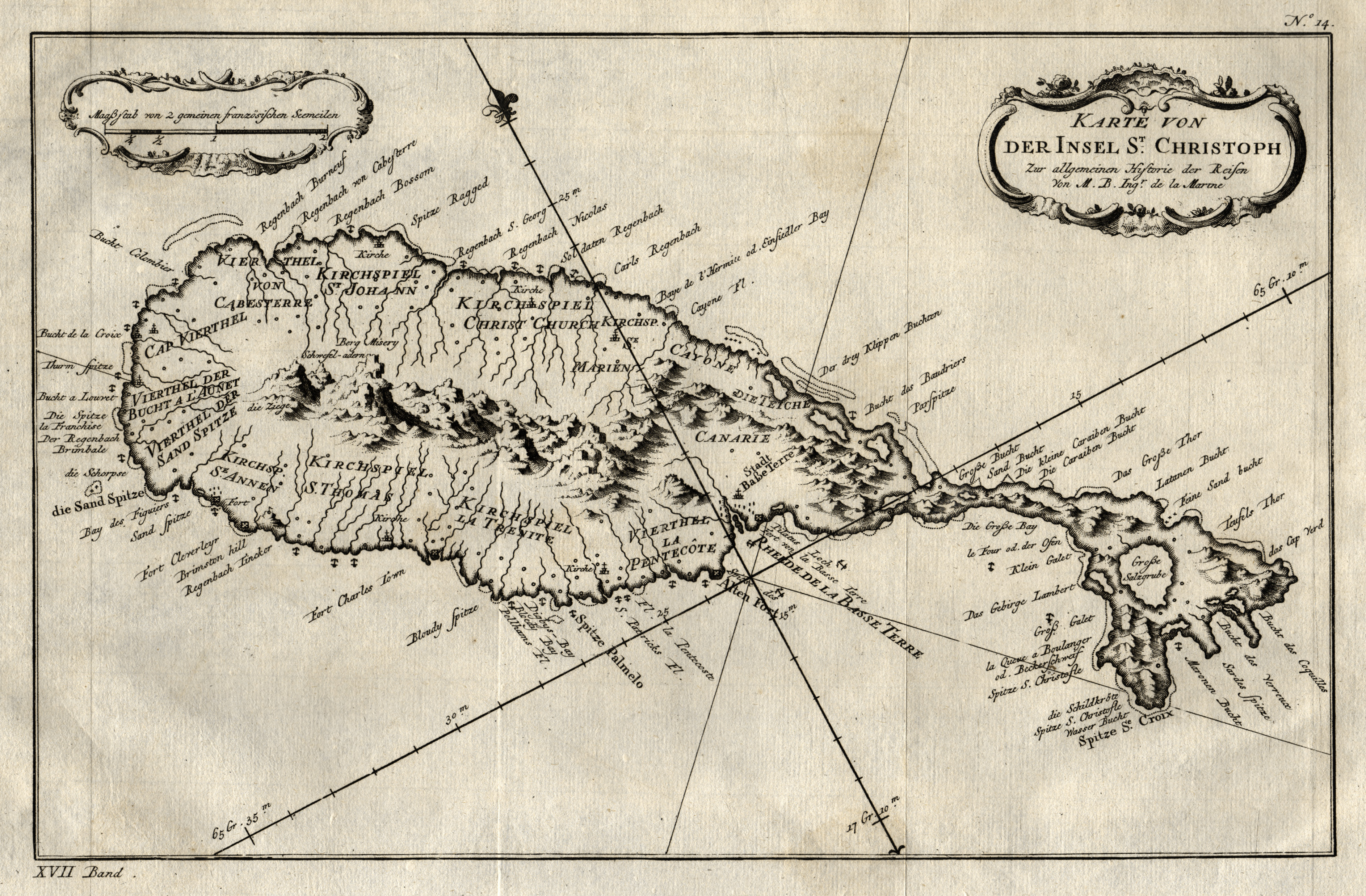 Kleine Antillen Karte.Kupferstich Karte N Bellin