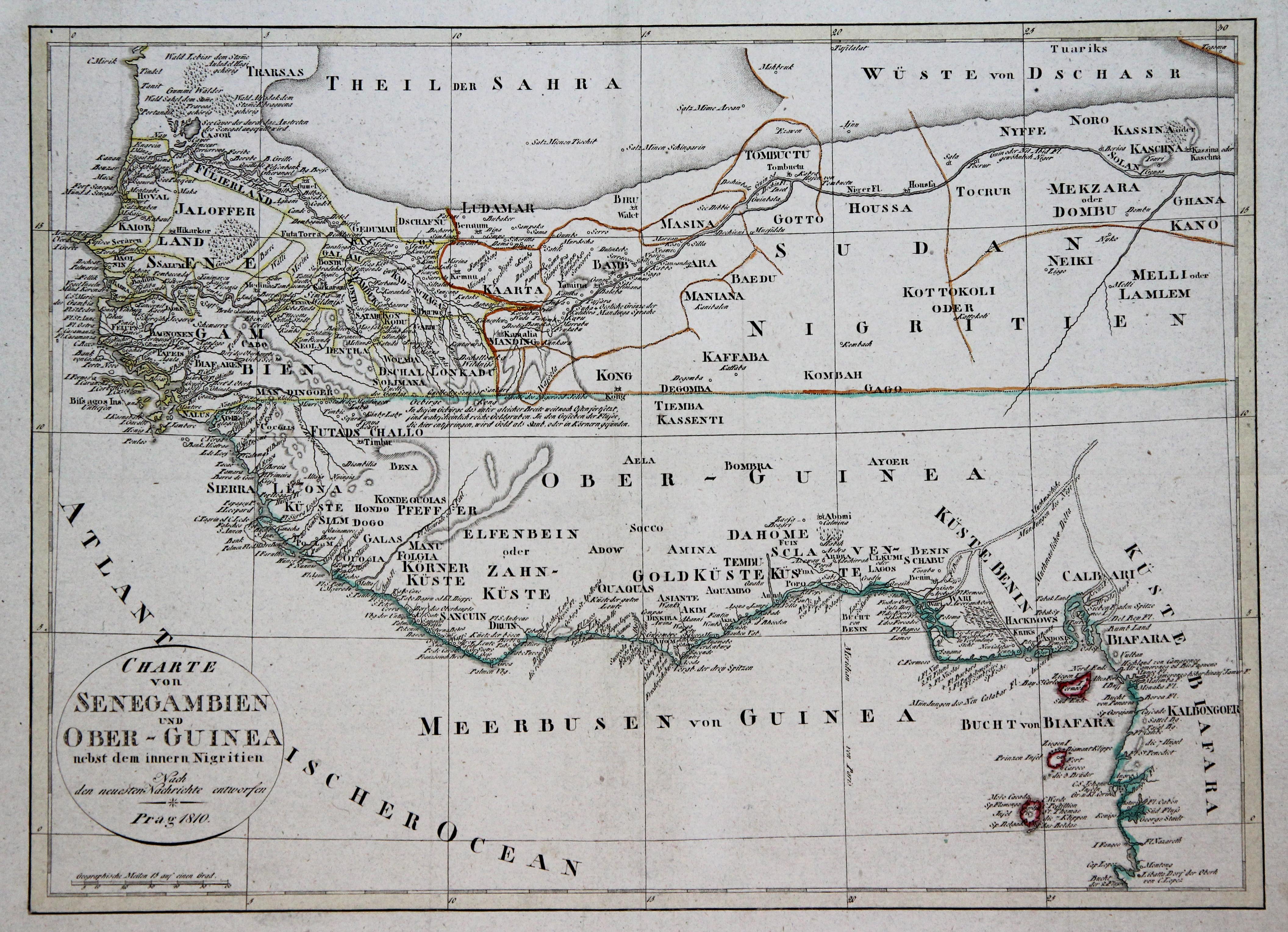 """Kupferstich- Karte, """"Charte von Senegambien und Ober-Guinea: WESTAFRIKA ( West"""