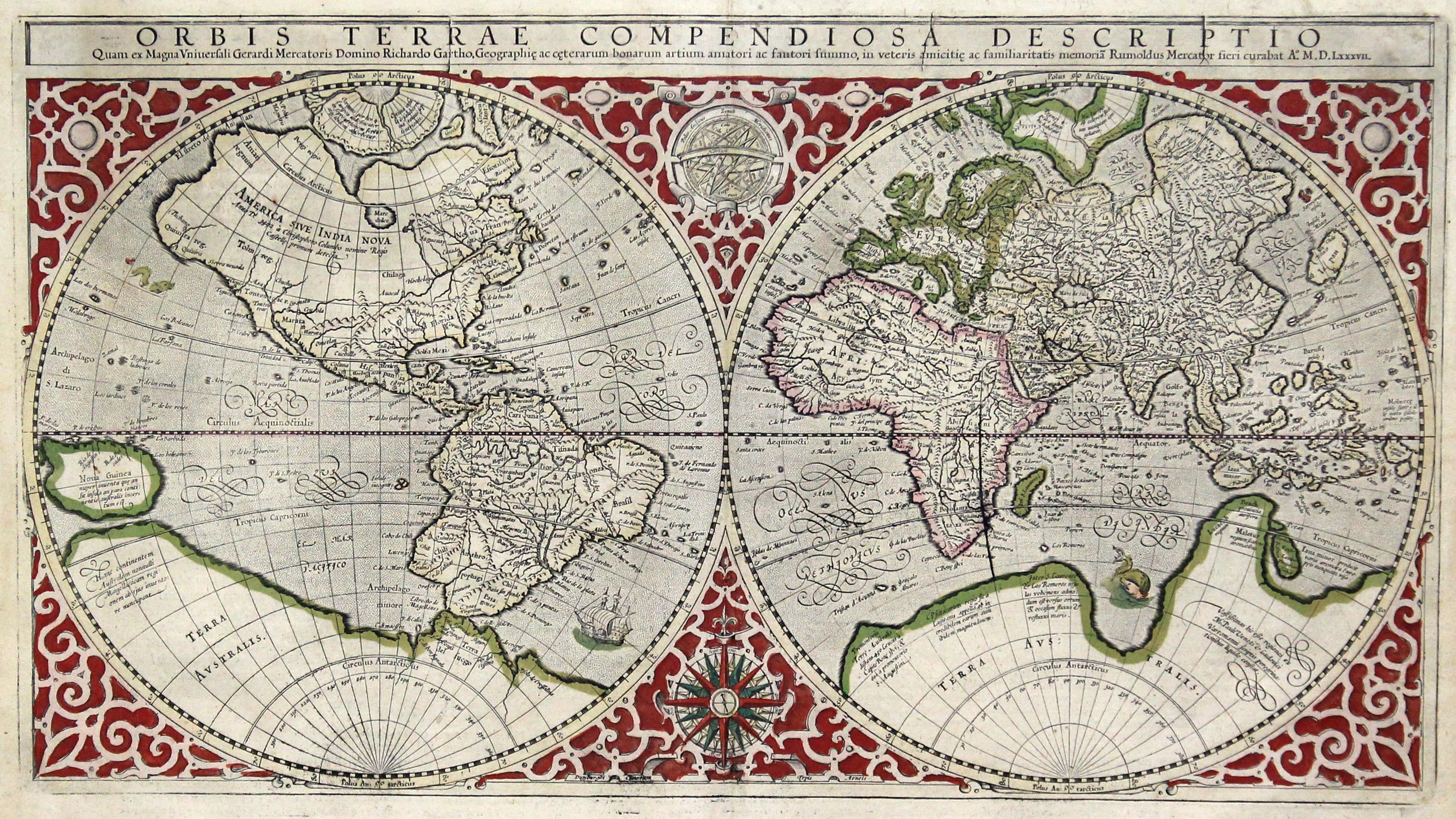 Kupferstich Karte V Rumold Mercator N Gerhard Mercator Orbis