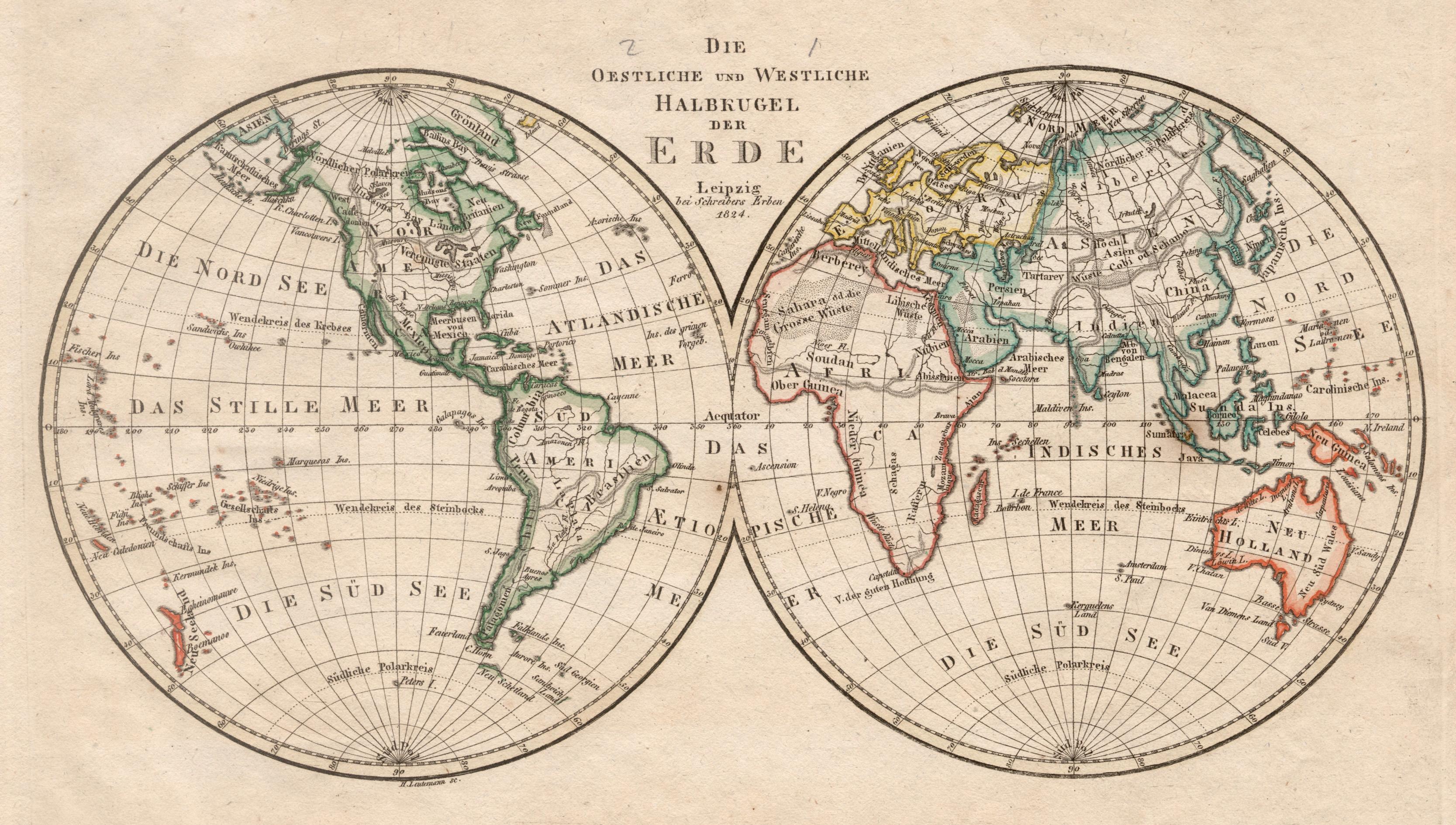 Karte Erde.Kupferstich Karte V Leutemann B