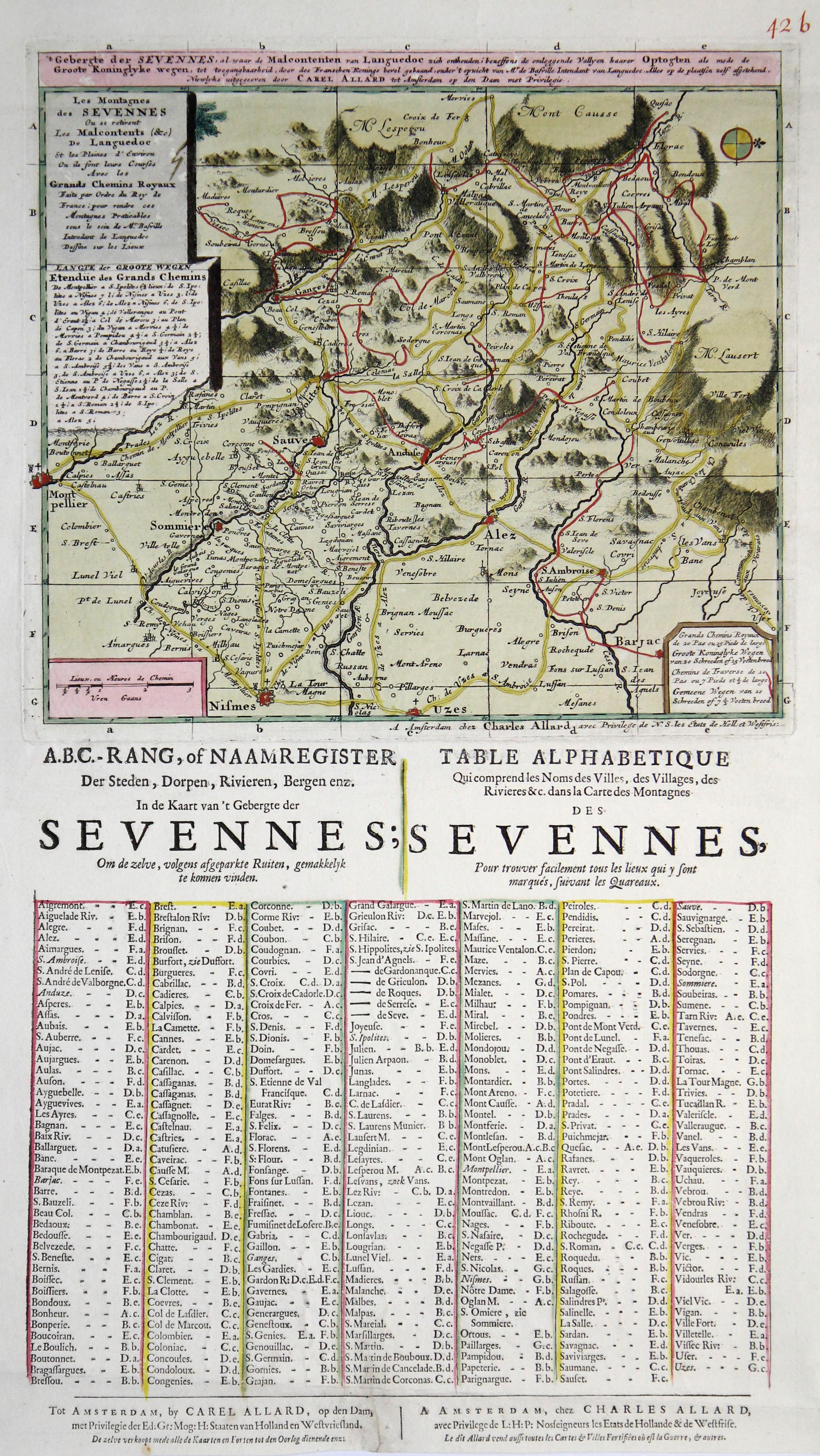 Cevennen Karte.Kupferstich Karte Bei C Allard