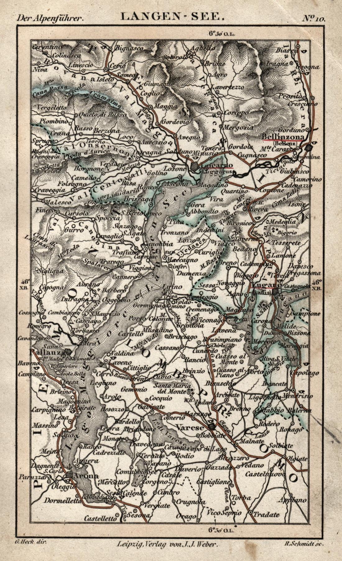 Karte Lago Maggiore Und Umgebung.Stahlstich Karte V R Schmidt N G Heck