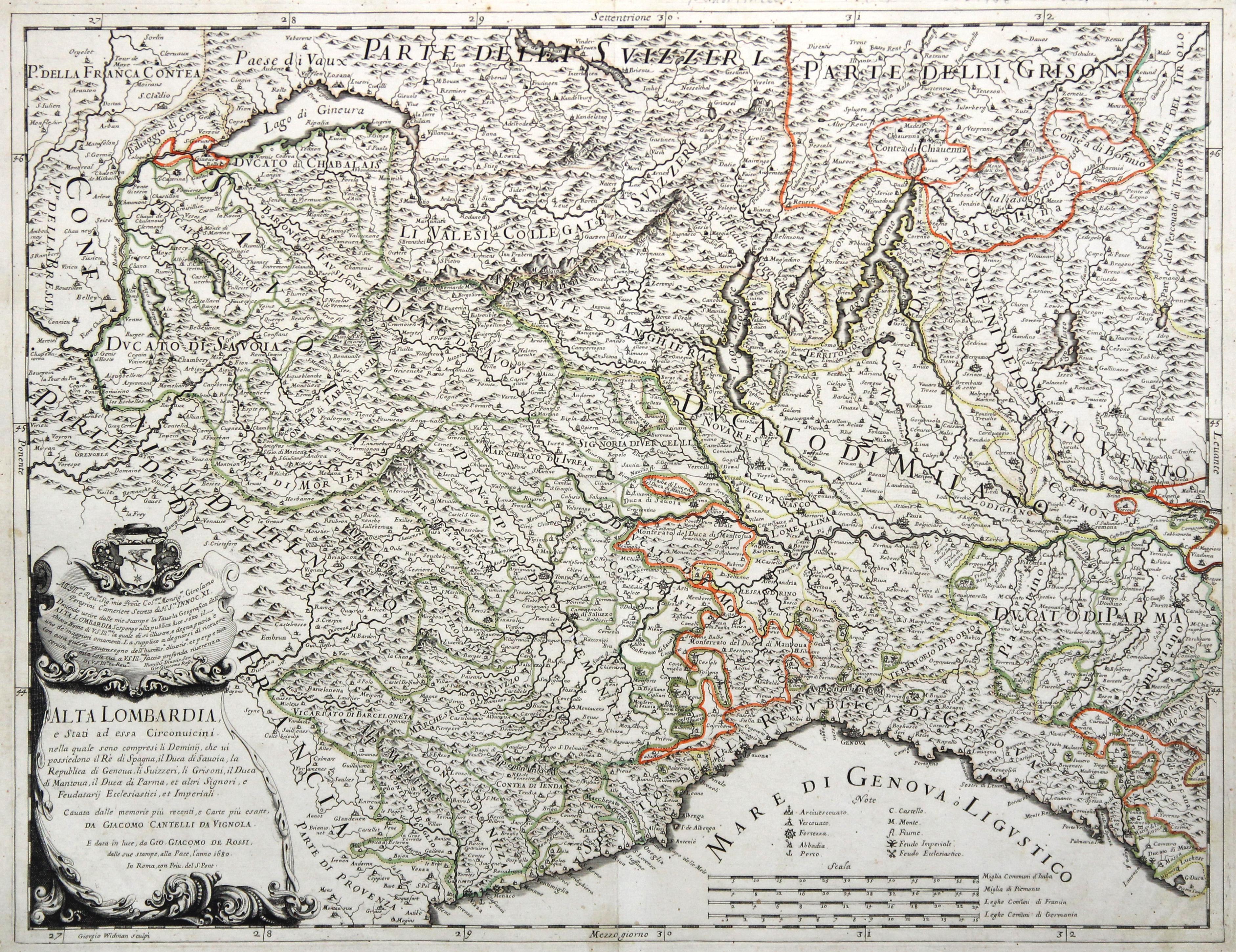 """Kupferstich- Karte, aus """"""""Mercurio Geographico"""""""" v. Giorgio Widmann n. G. Cantelli da Vignola bei Rossi, """"""""Alta Lombardia e Stati ad essa Circonuicini ."""