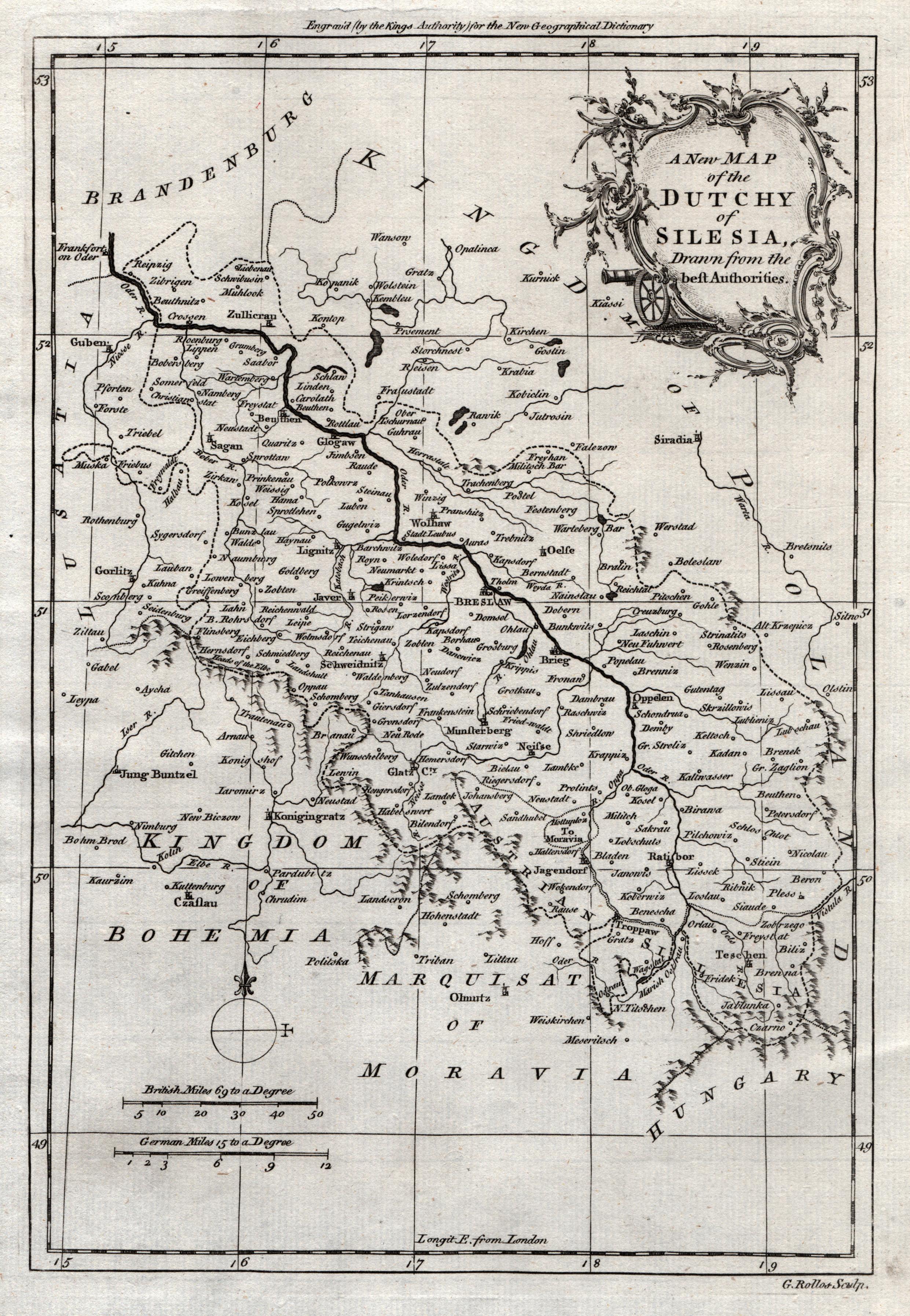 Kupferstich- Karte, v. G. Rollos,