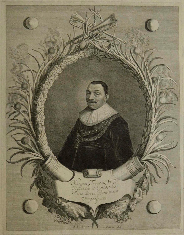 "Maarten Tromp (23. 04. 1598 - 10. 08. 1653 ). Holl. Admiral. Hüftbild im Ehrenkranz mit Kanonen, """" Martinus Trompius H.F. Hollandiae et Occidentalis"