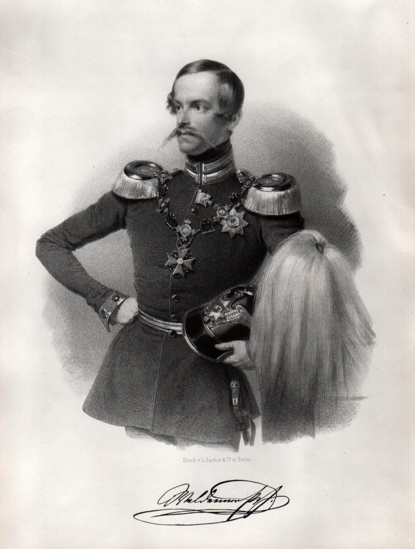(Berlin 02. 08. 1817 - 17. 02. 1849 Münster). Prinz von Preussen und Generalmajor. Kniestück in Paradeuniform,. WALDEMAR, Friedrich Wilhelm (1817-184