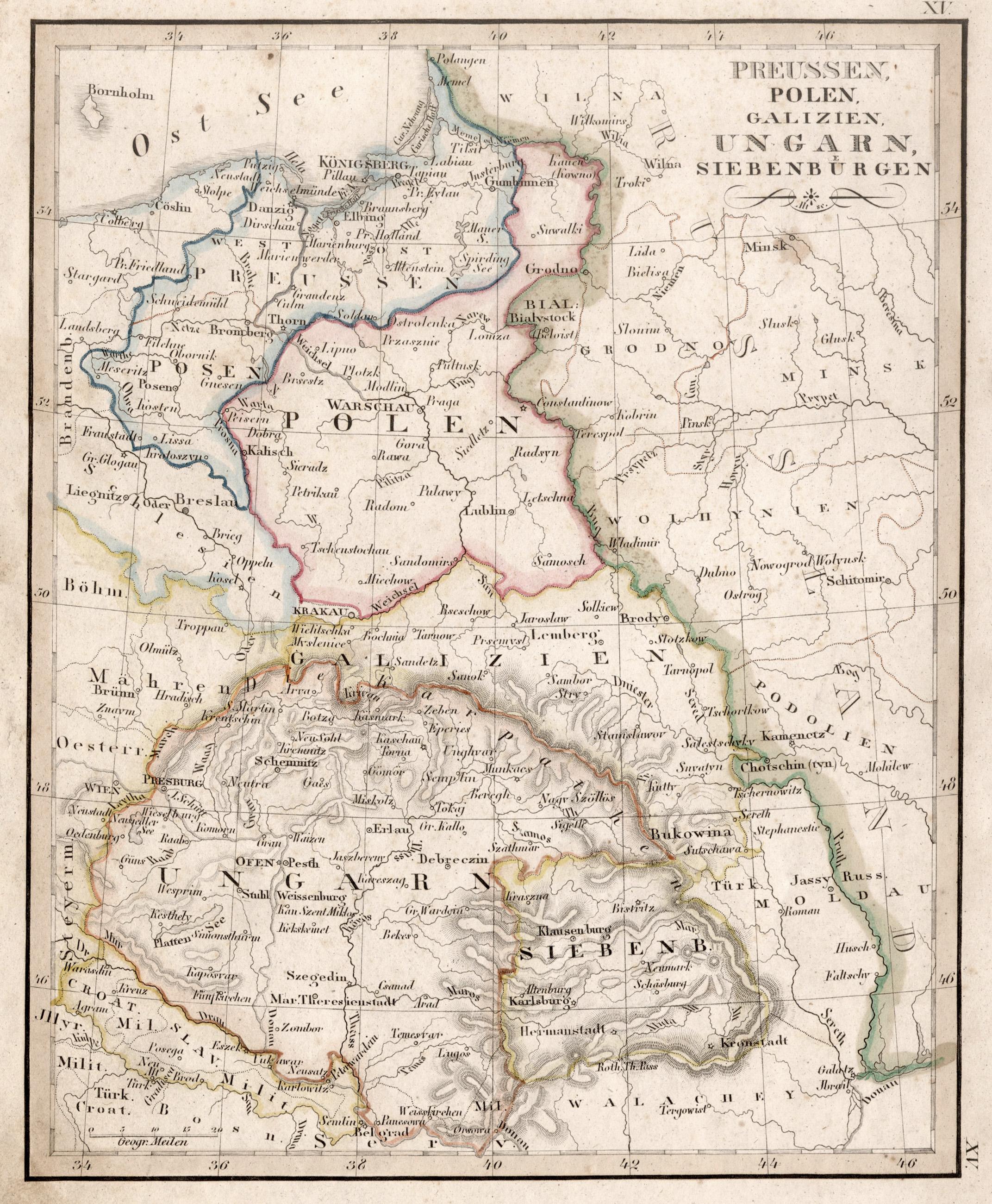 Galizien Karte.Kupferstich Karte M Altem Grenzkolorit