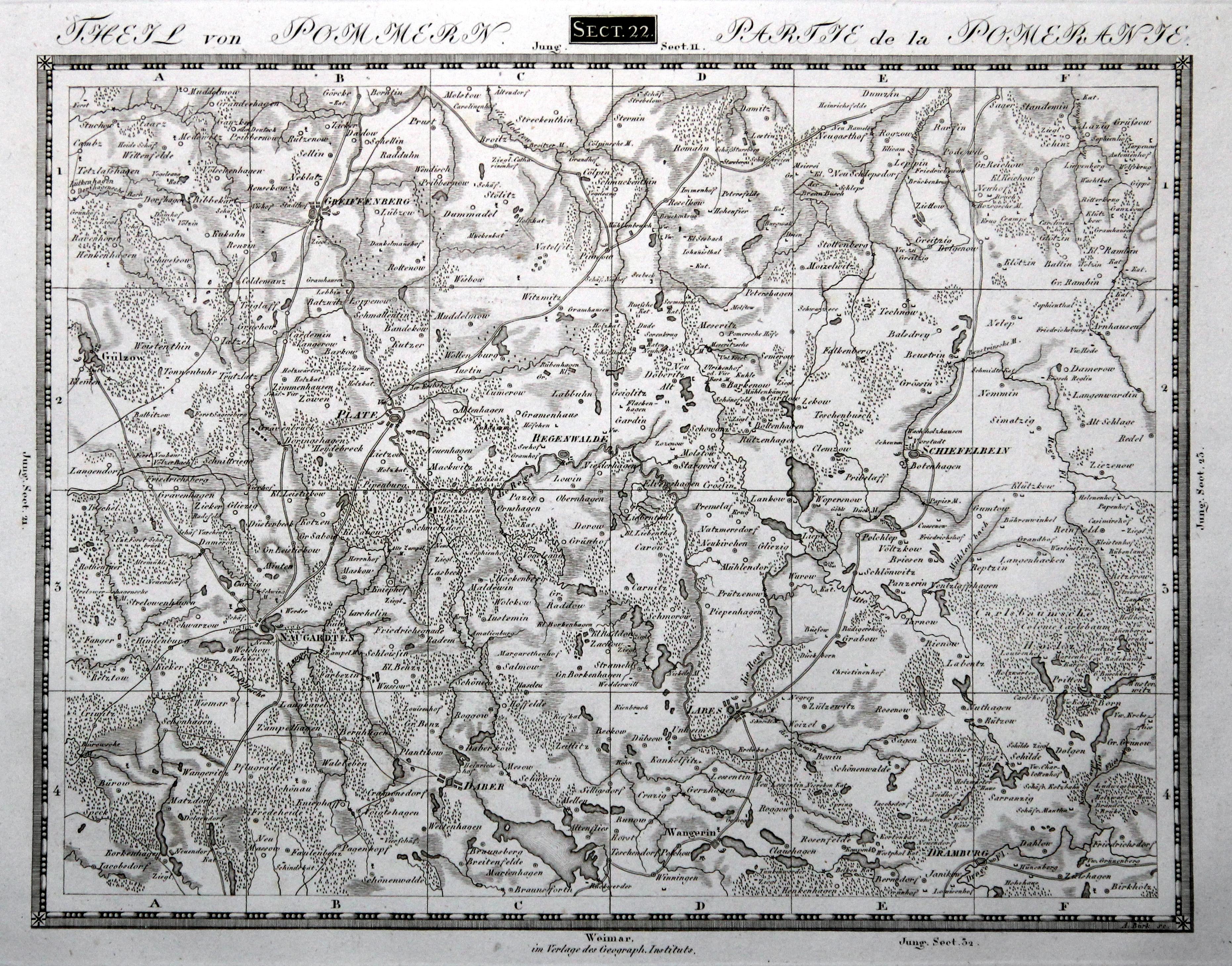 Karte Weimar Und Umgebung.Kupferstich Karte V Burk B