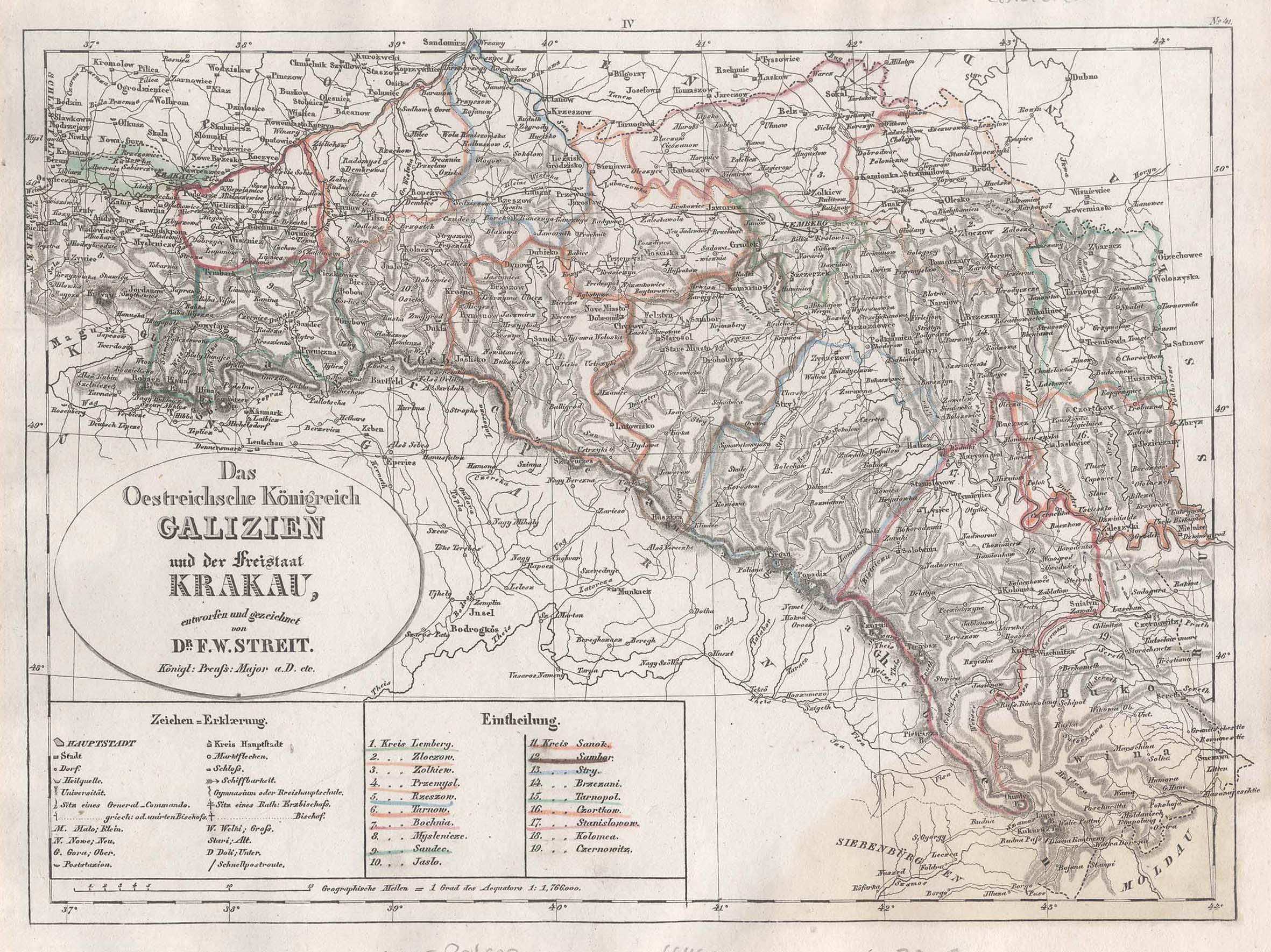 galizien karte Stahlstich  Karte, n. F.W. Streit,