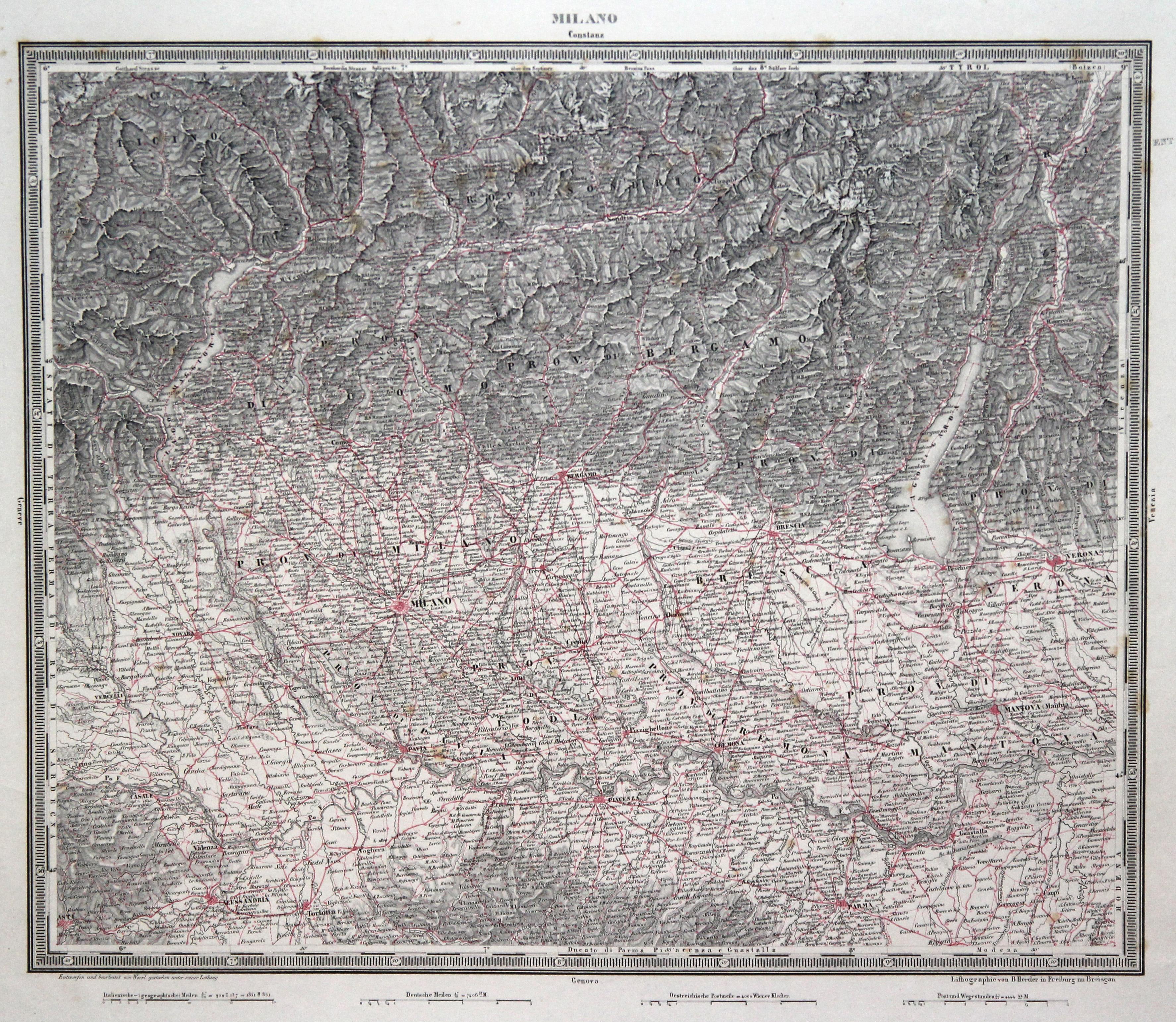 "Litho.- Karte, n. Woerl b. Herder, """"Milano"""". MAILAND - GARDASEE:"