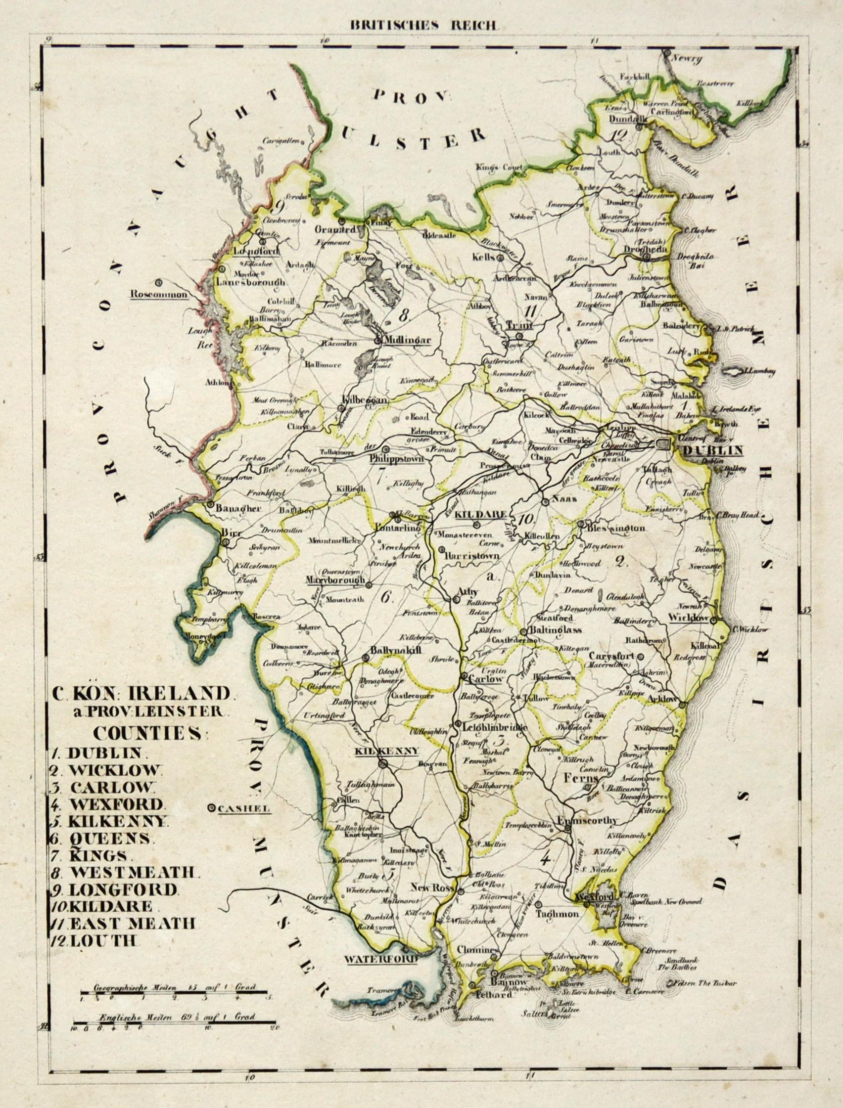 Irland Karte Europa.Litho Karte Aus Schliebens Atlas Von