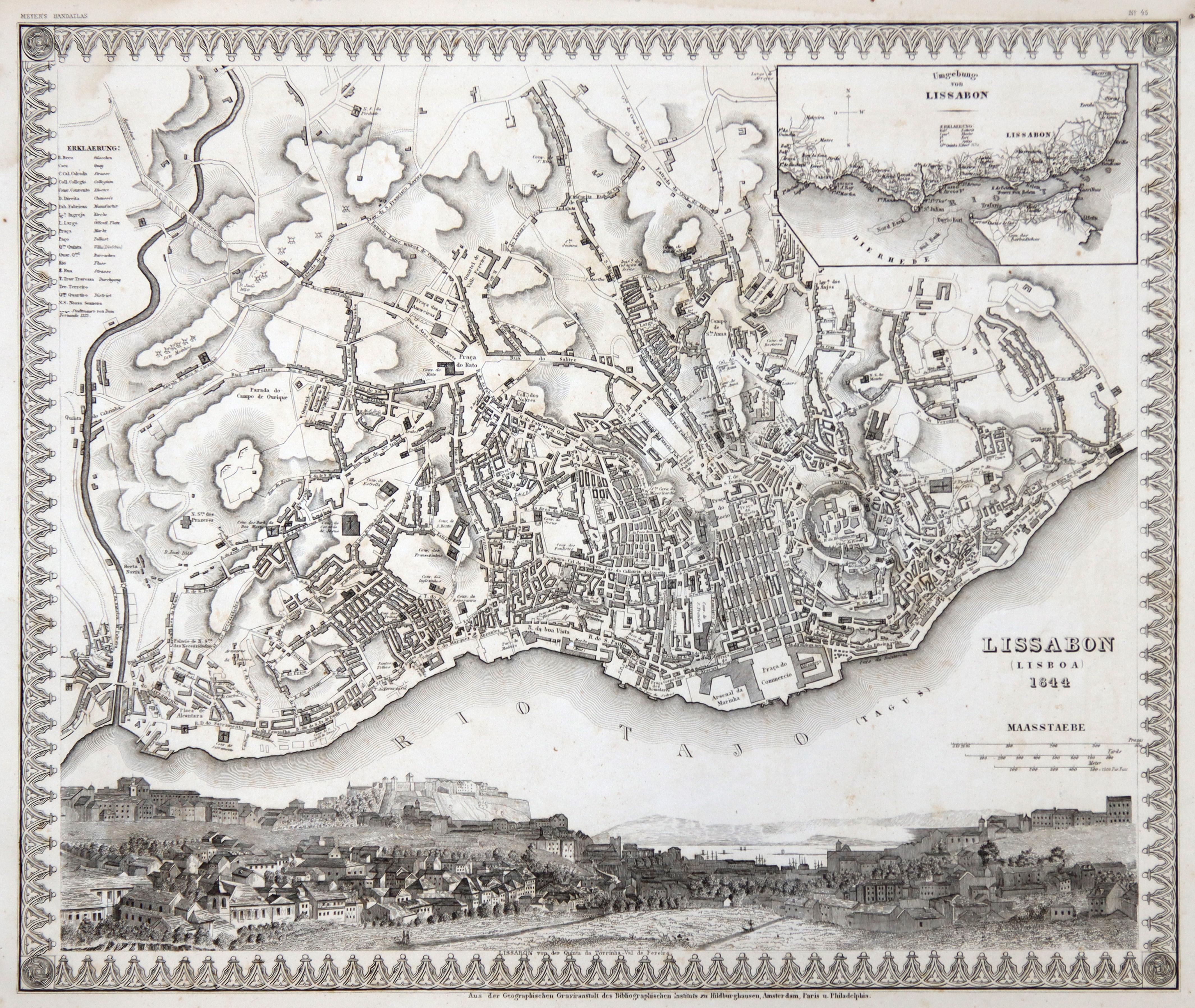 """Stadtplan, darunter schöne panoramaartige Gesamtansicht, """"Lissabon (Lisboa): Lissabon ( Lisboa"""