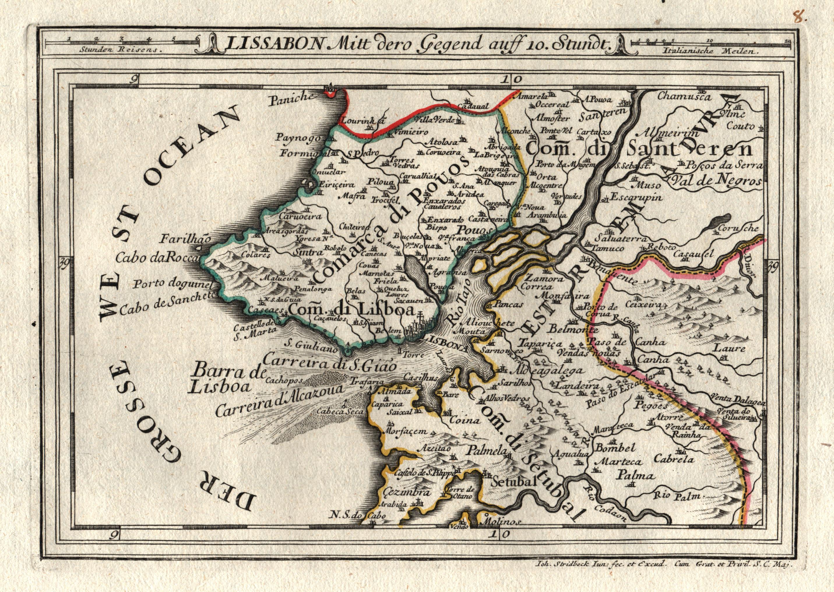 Kupferstich- Karte, v. Stridbeck d. J. b.: Lissabon ( Lisboa