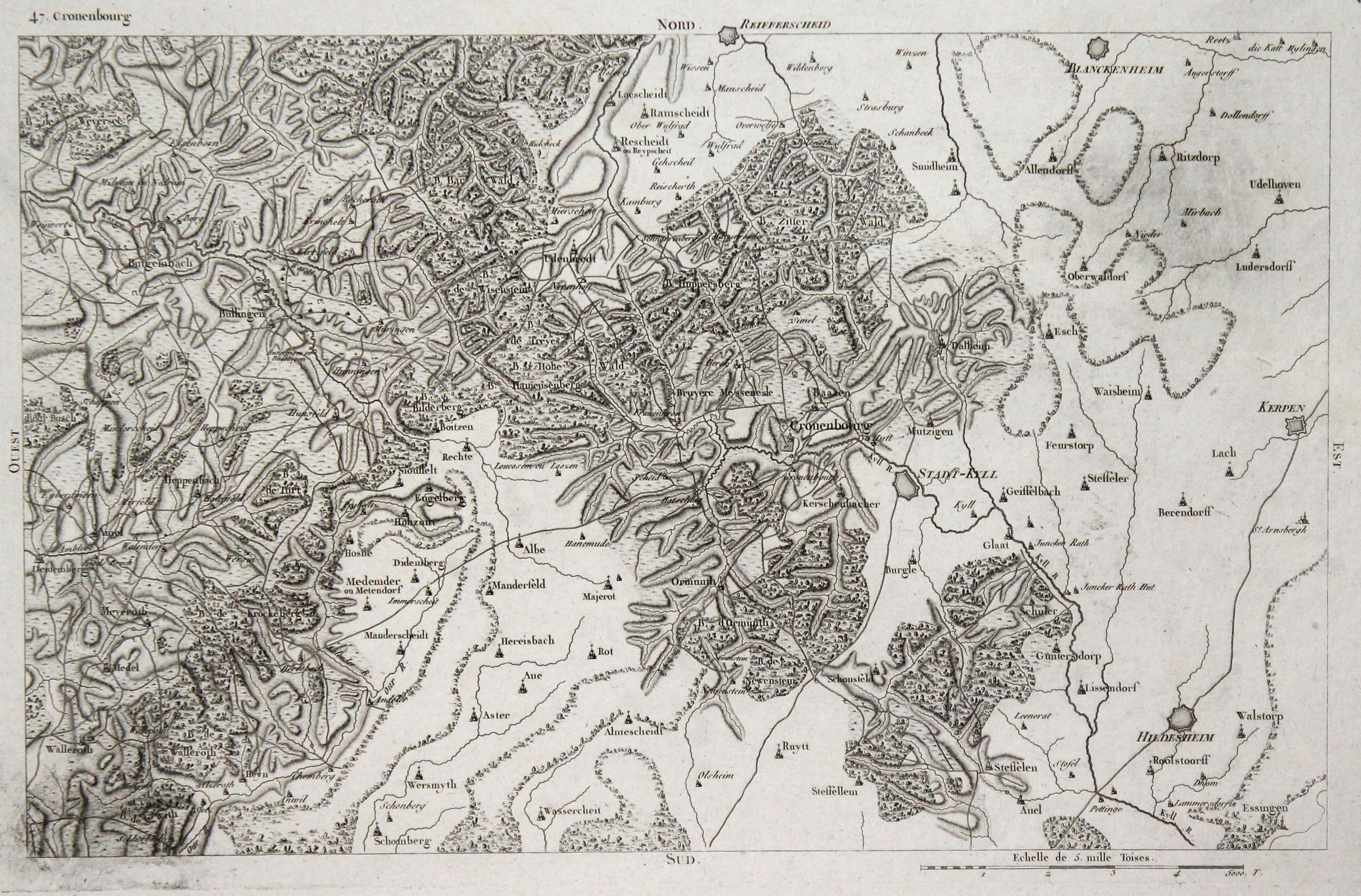 Karte Eifel.Kupferstich Karte V Capitaine