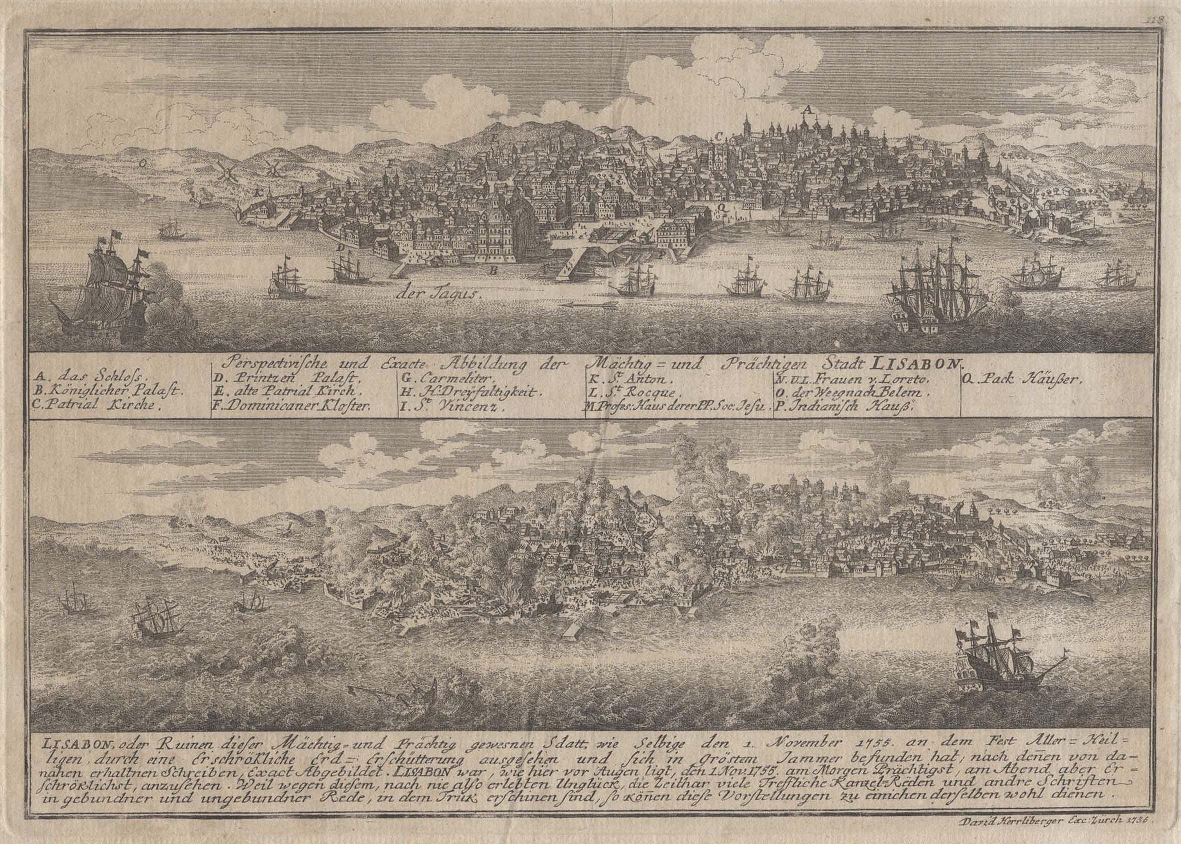 Gesamtansicht, über den Tejo, darunter weitere Darstellung: Lissabon ( Lisboa