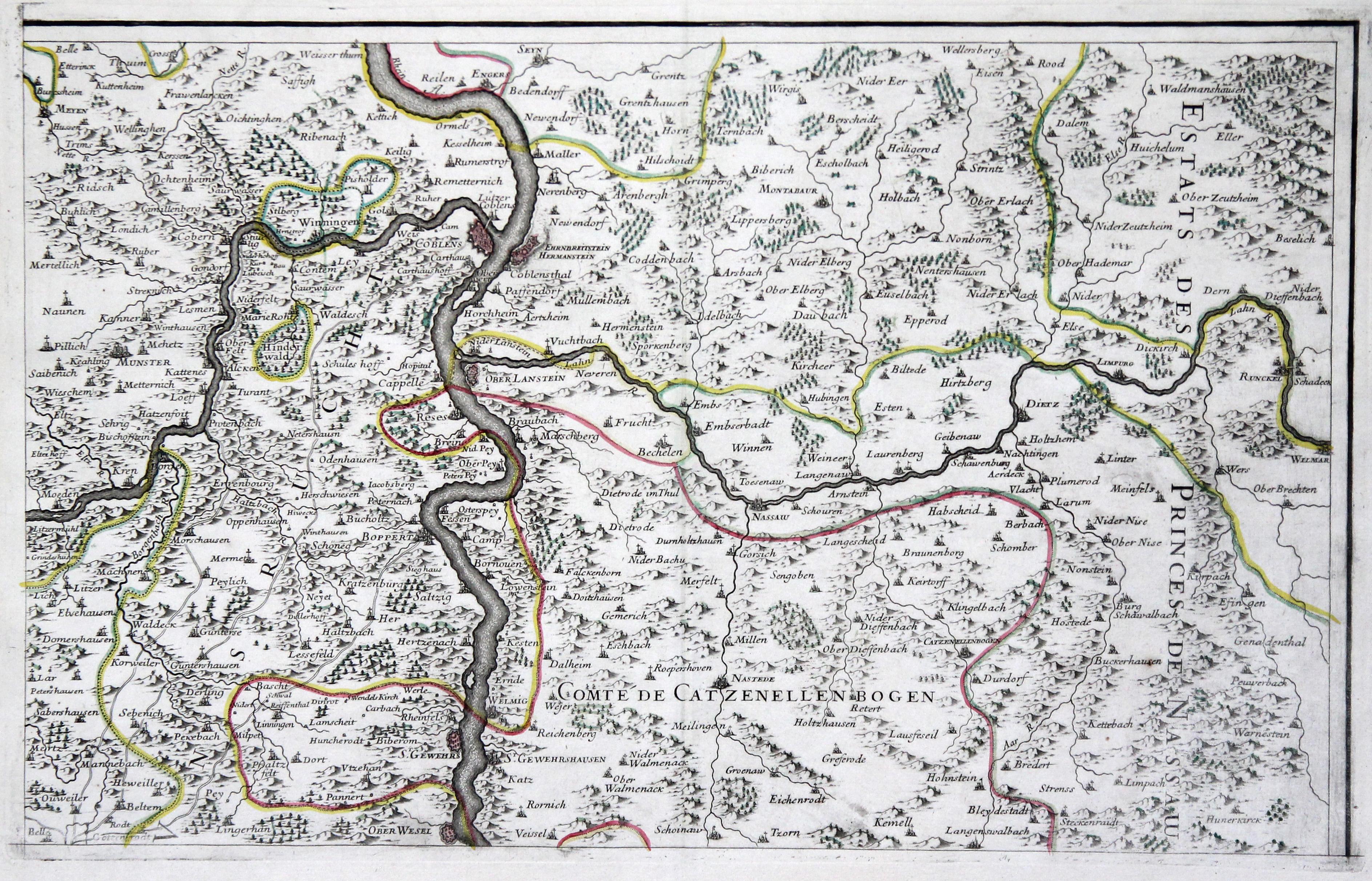 Karte Koblenz.Kupferstich Karte B Von Koblenz Zvab