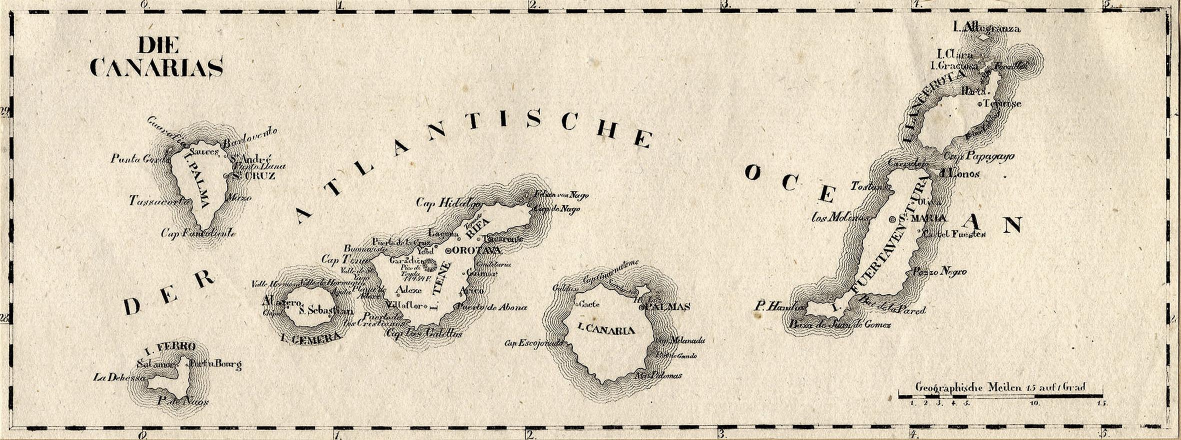 Kanaren Inseln Karte.Litho Karte Aus Schliebens Atlas Von