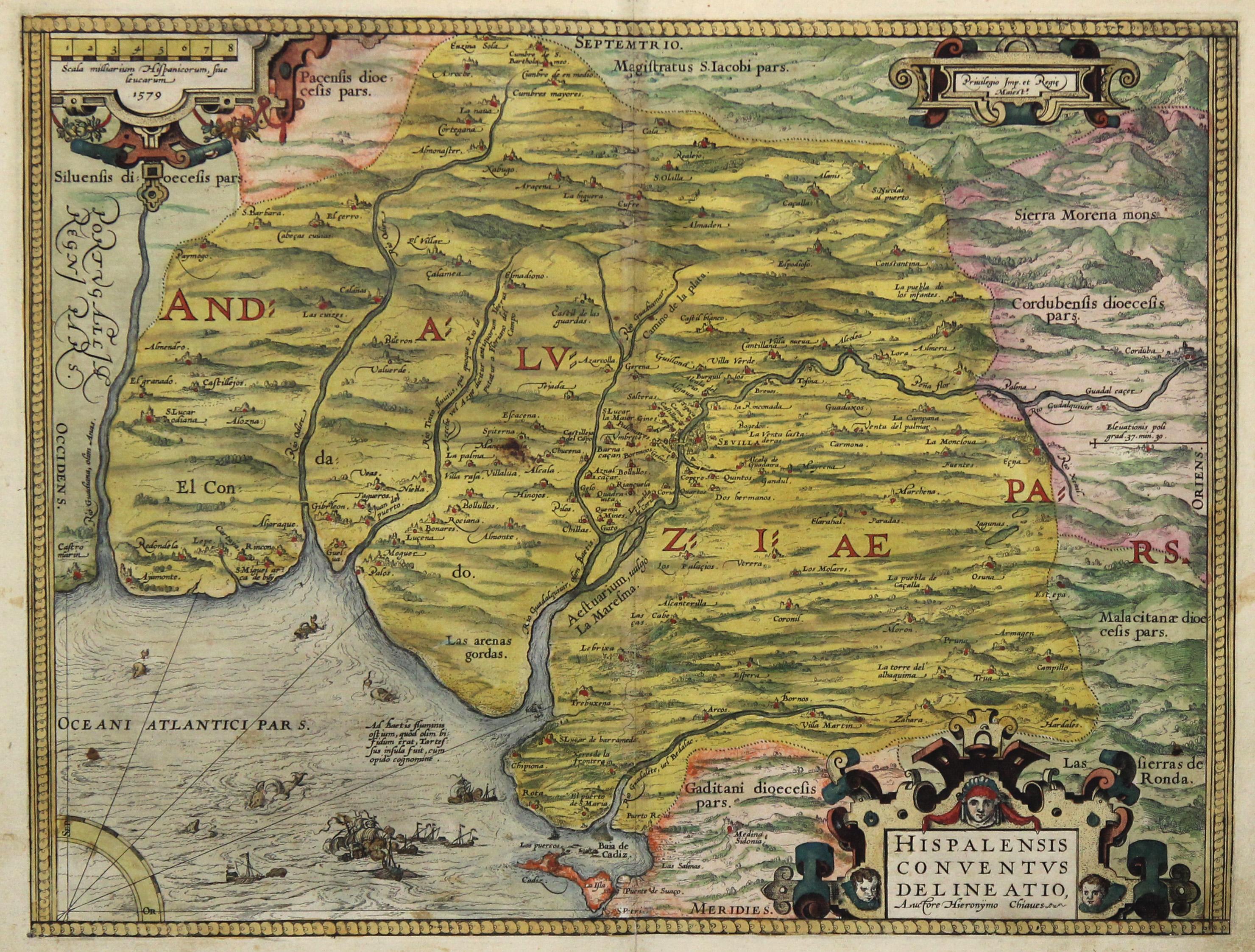 Karte Andalusien Cadiz.Kupferstich Karte N Gironimo De Chaves