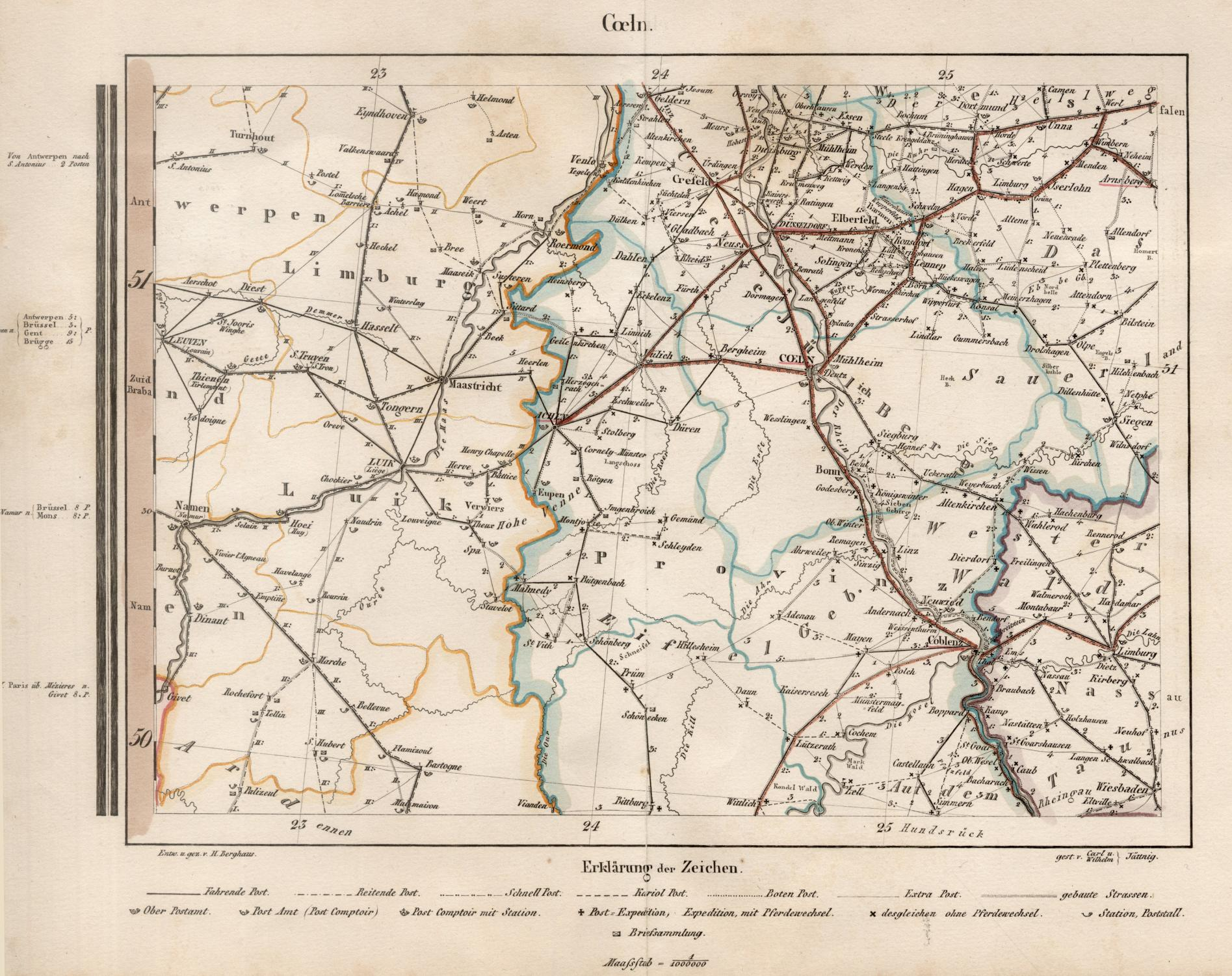 Karte Niederrhein.Kupferstich Karte N Von Niederrhein Zvab