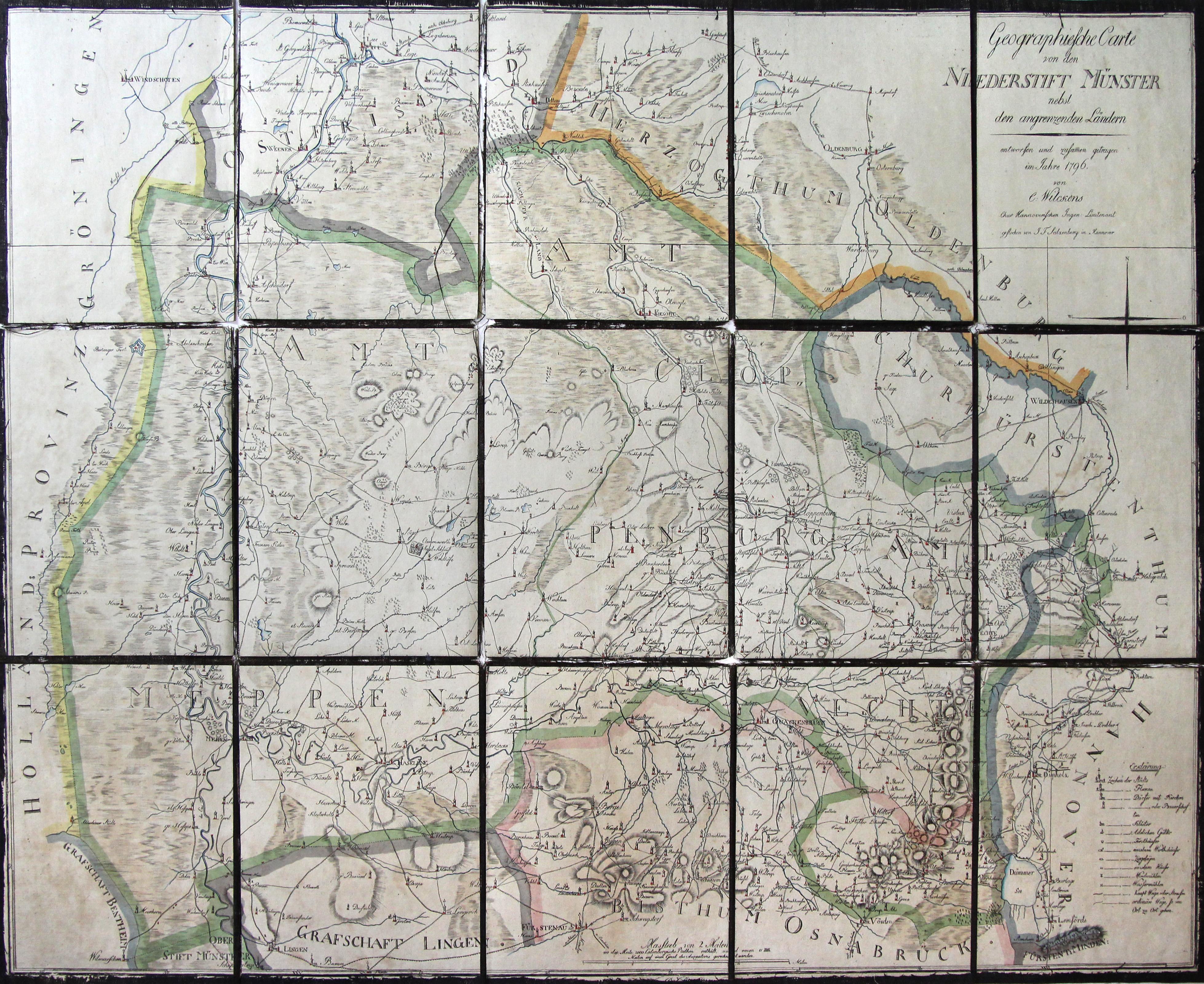Emsland Karte.Kupferstich Karte N C Wilckens V J F