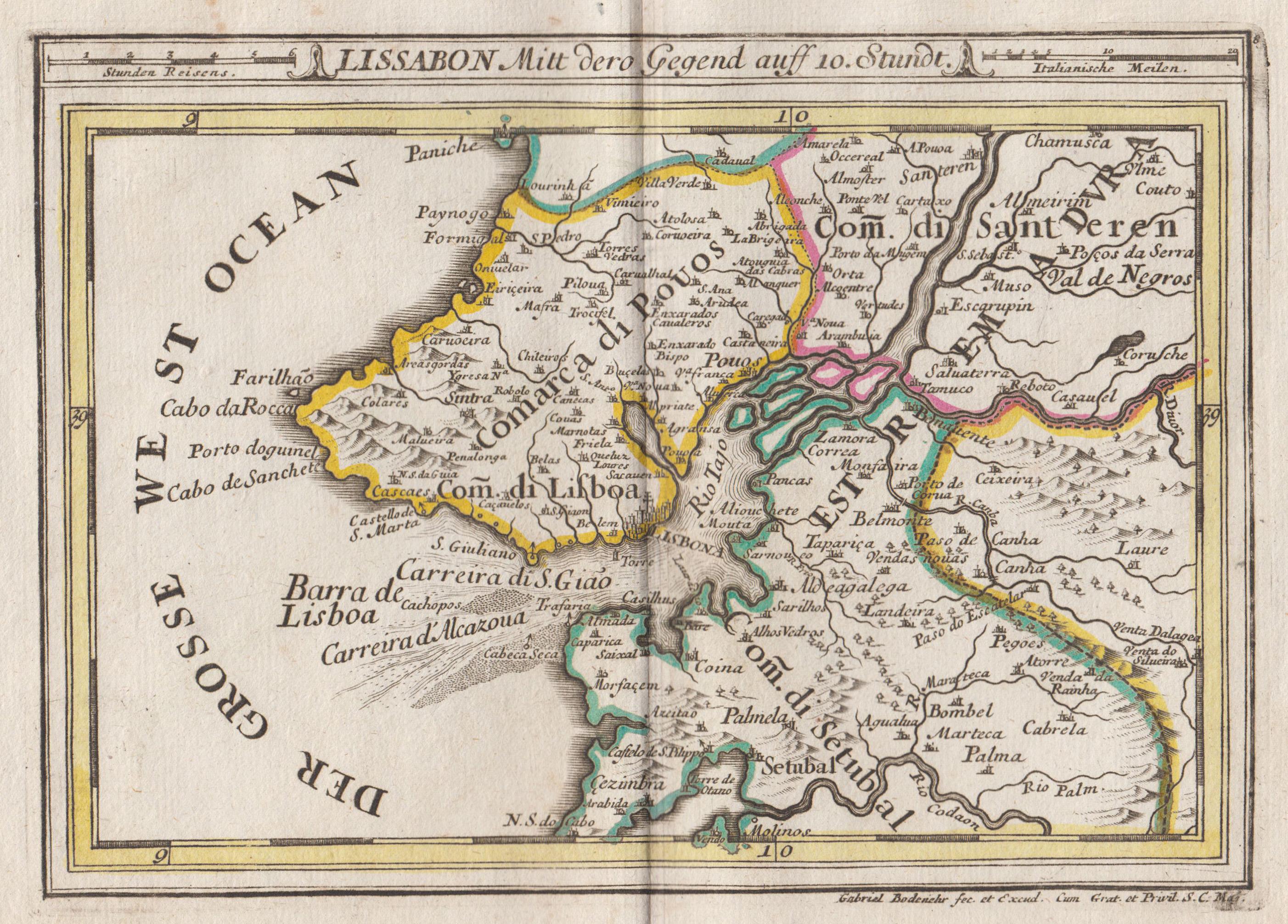 Kupferstich- Karte, v. und b. Gab. Bodenehr,: Lissabon ( Lisboa